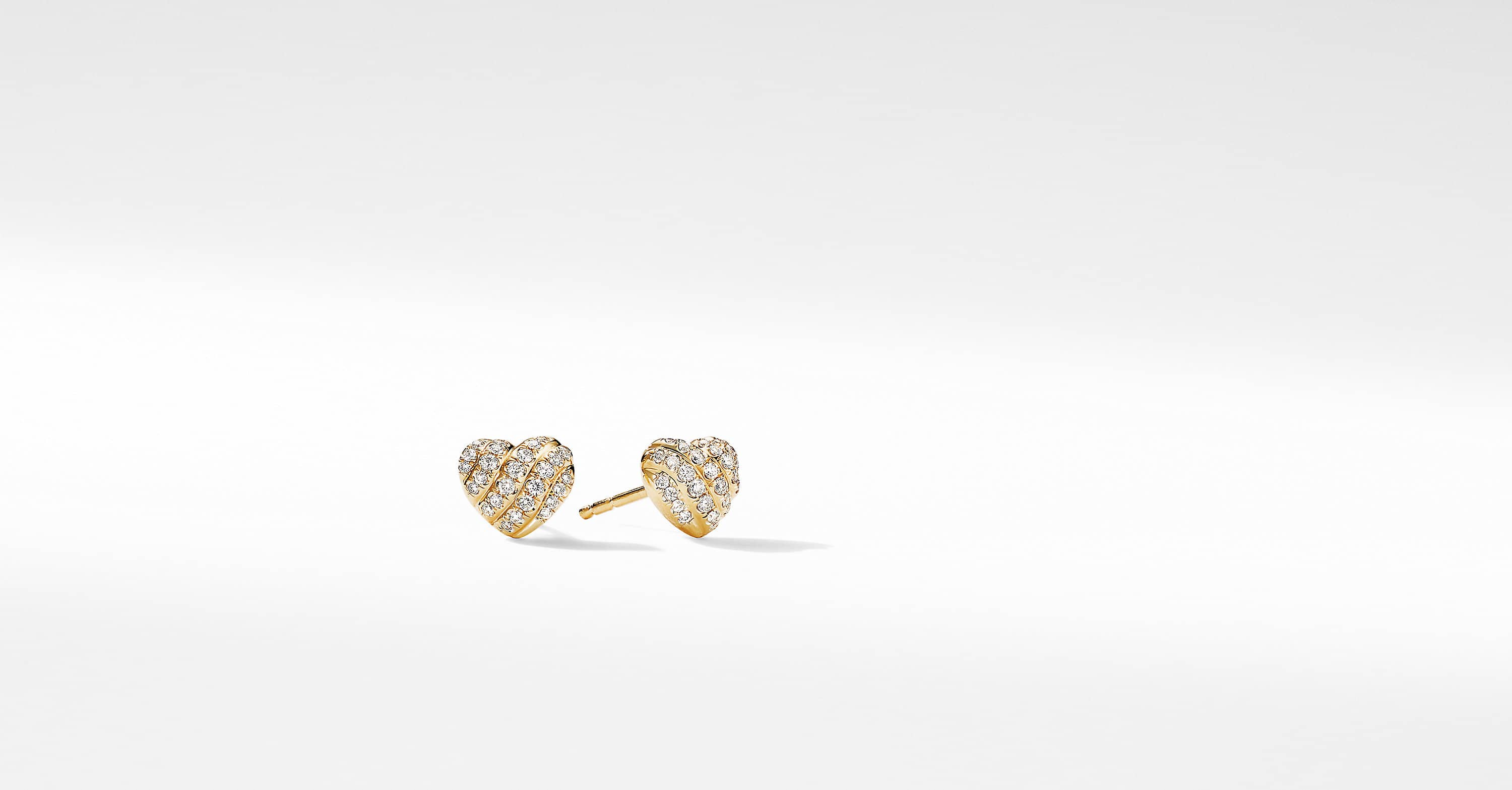 Heart Stud Earrings in 18K Yellow Gold with Pavé