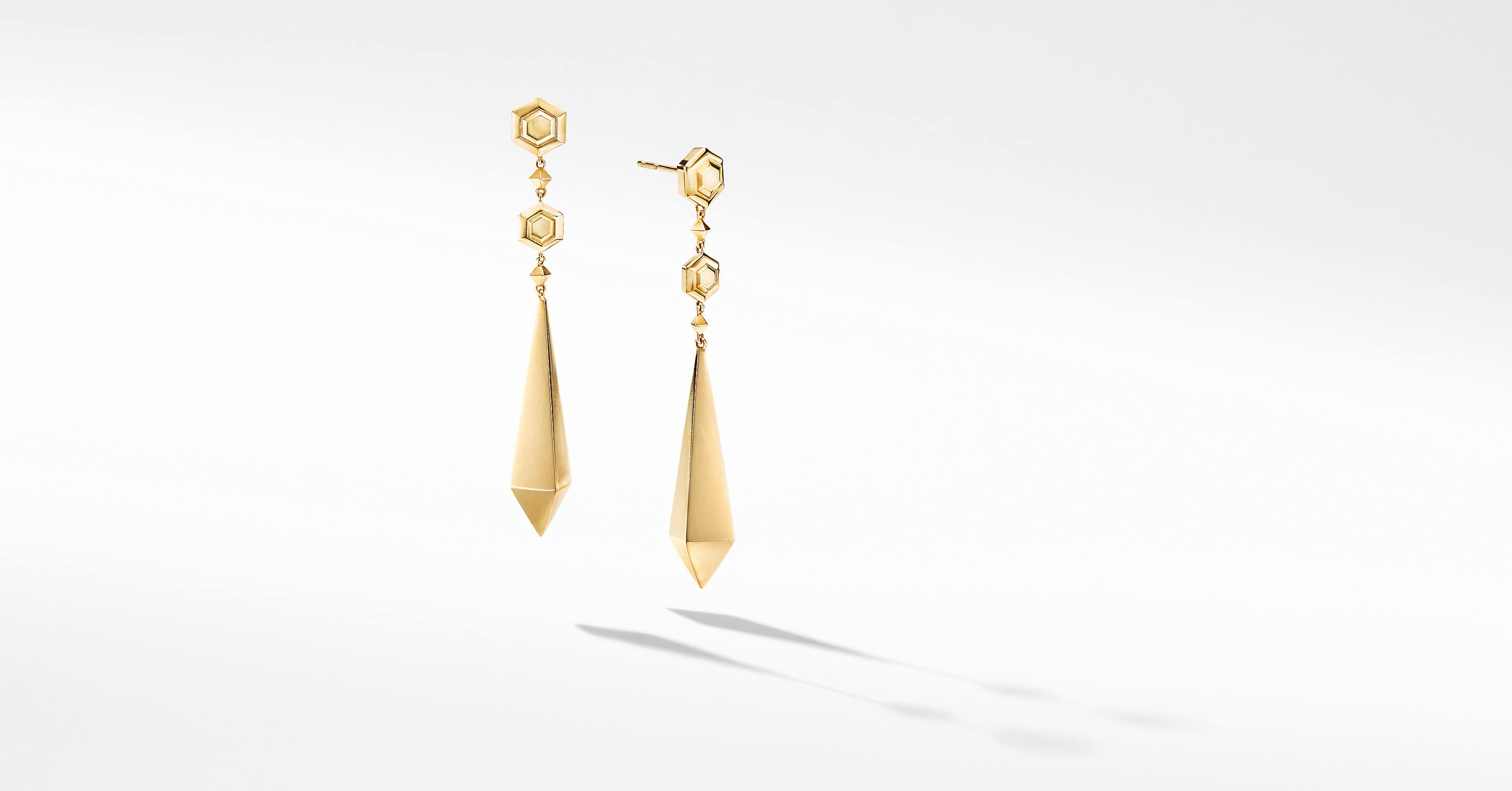 Modern Renaissance Drop Earrings in 18K Yellow Gold
