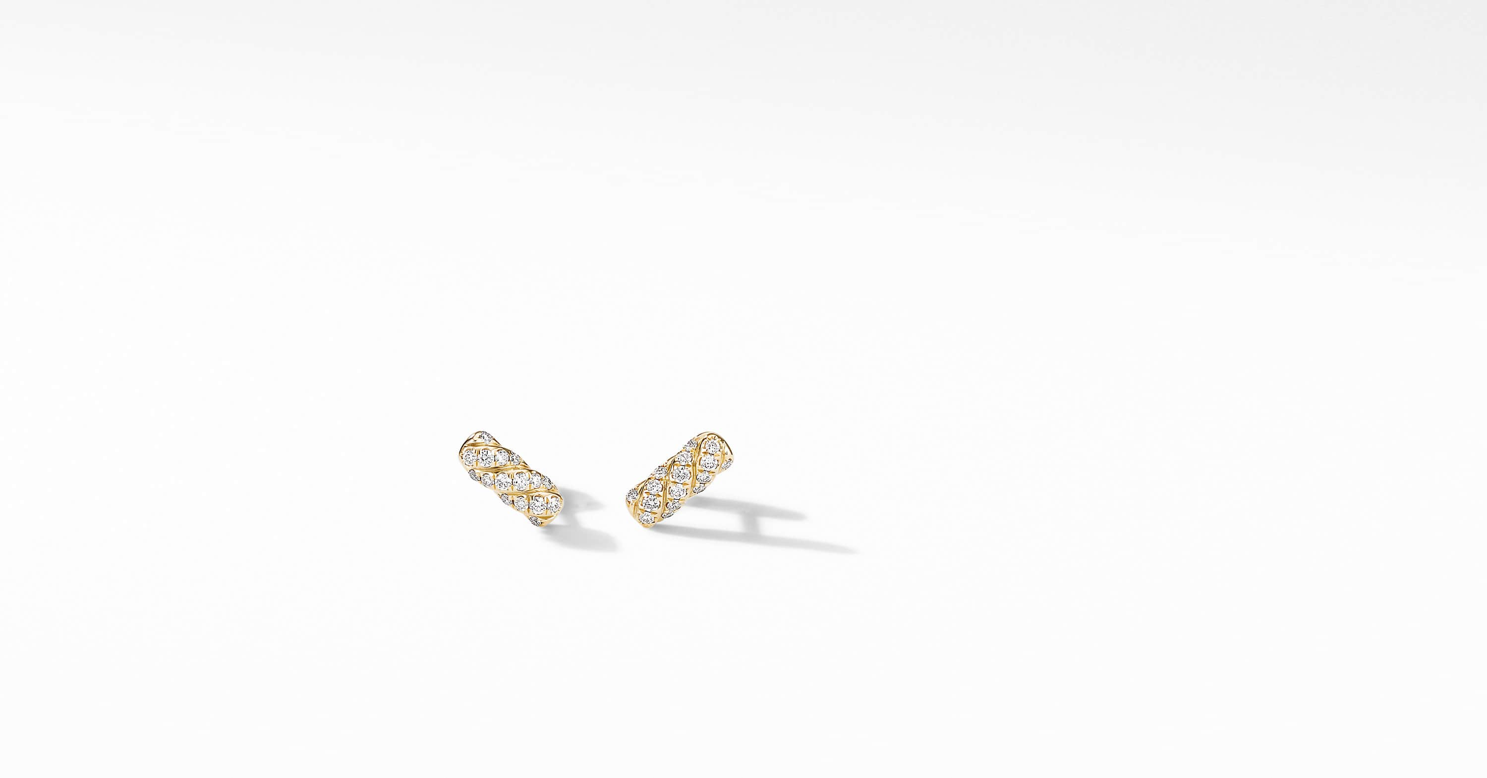 Barrel Stud Earrings in 18K Yellow Gold with Diamonds