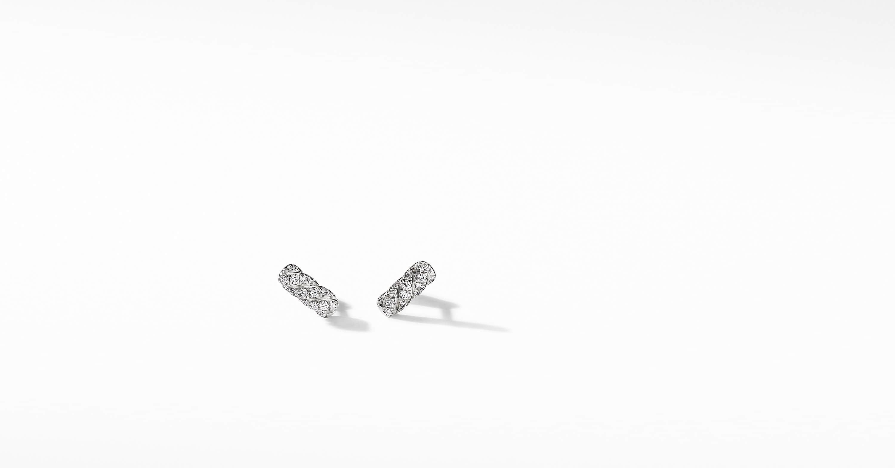 Barrel Stud Earrings in 18K White Gold with Diamonds
