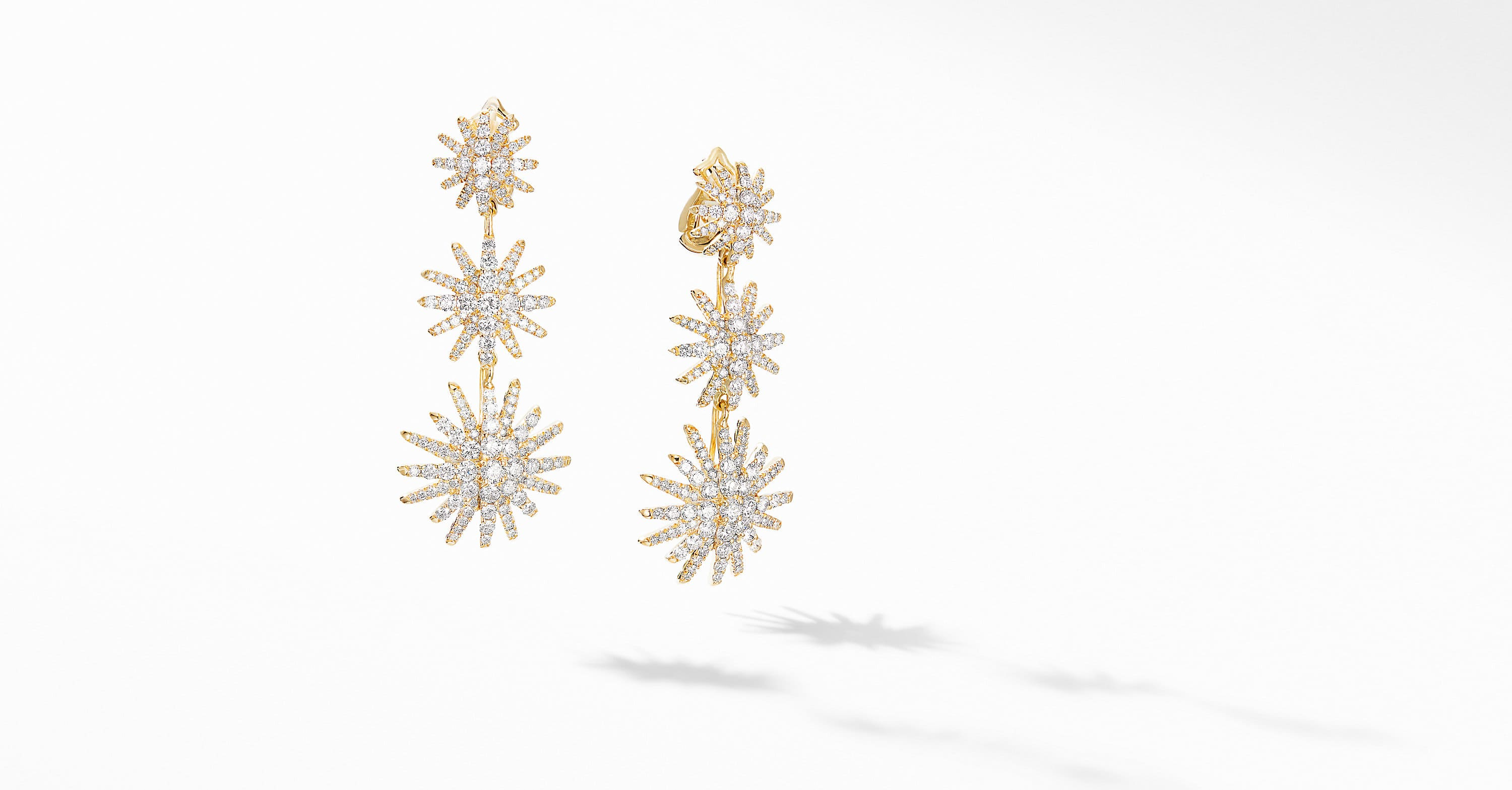 Dormeuses triple Starburst en or jaune 18 carats et diamants