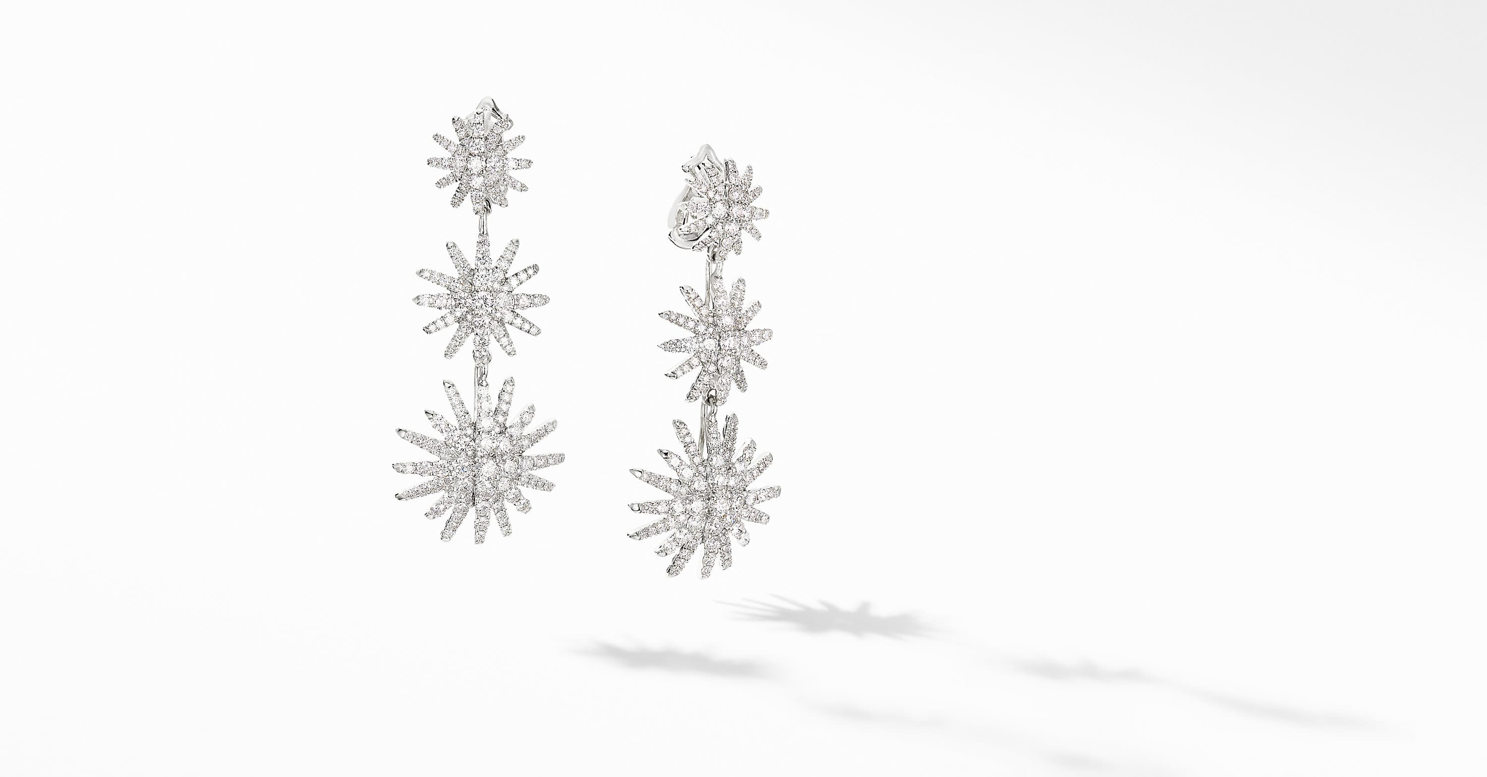 Starburst Triple Drop Earrings in 18K White Gold with Diamonds