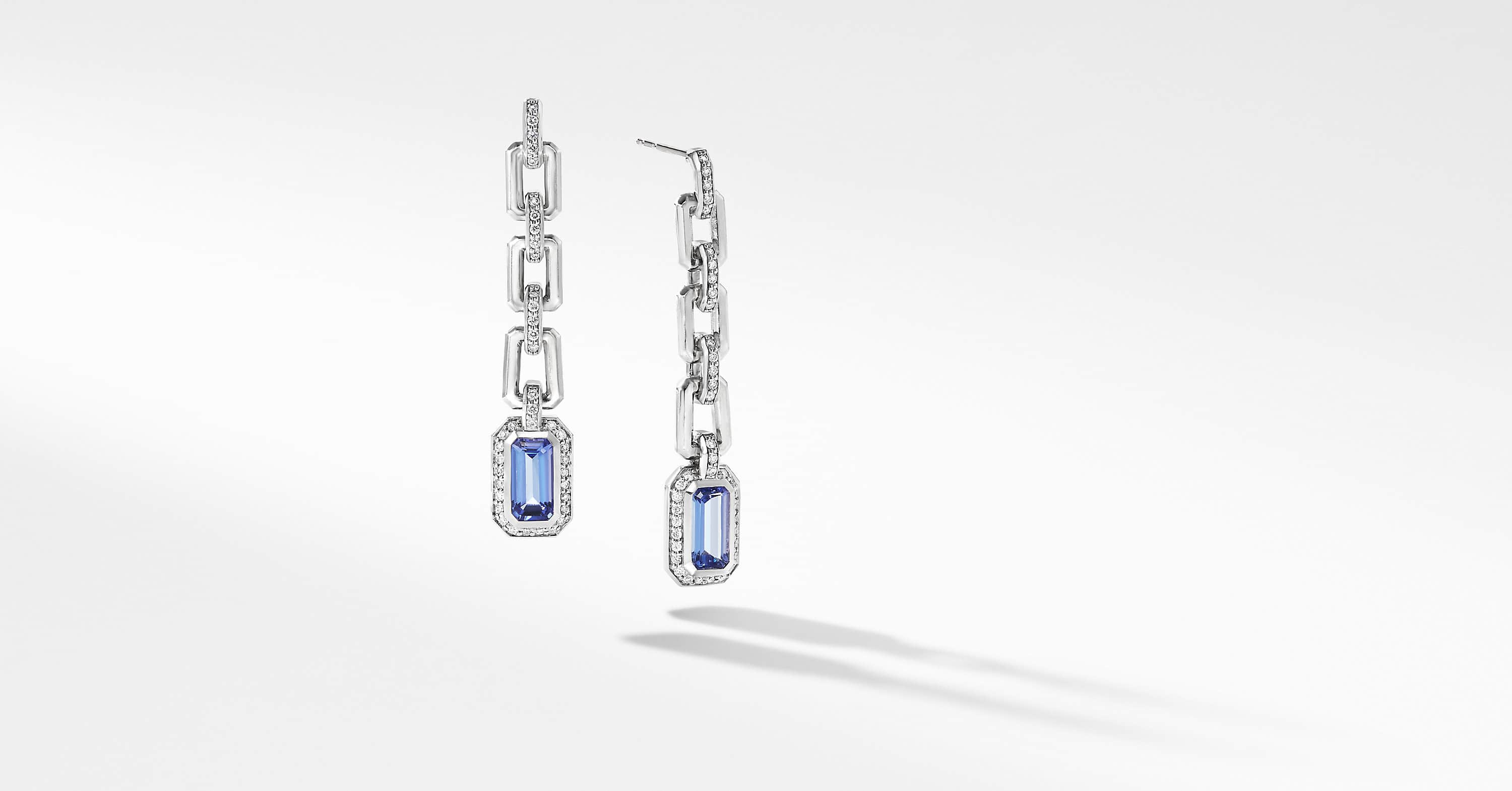 Novella Chain Link Drop Earrings in 18K White Gold with Pavé
