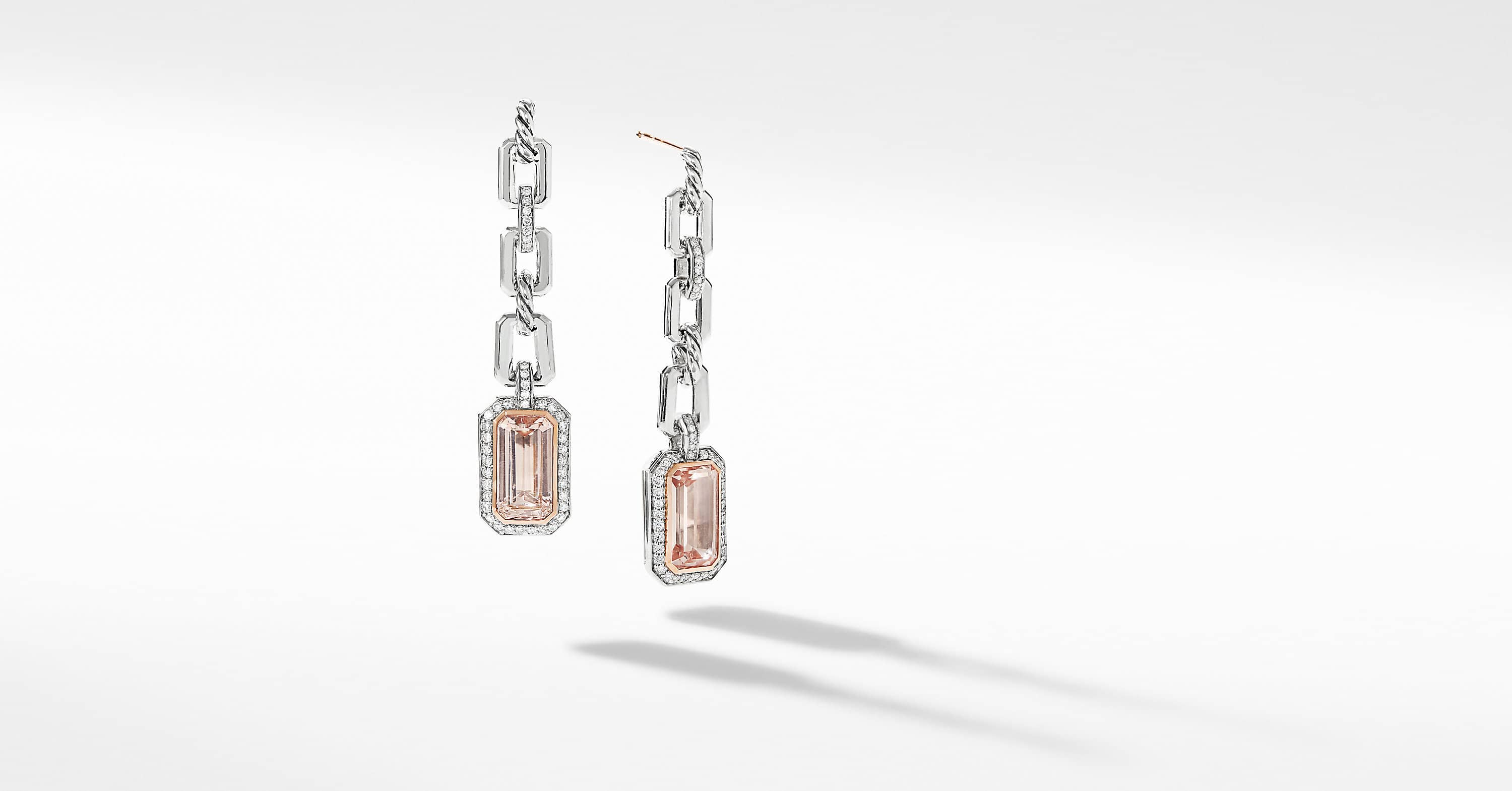 Novella Chain Link Drop Earrings with Pavé and 18K Rose Gold