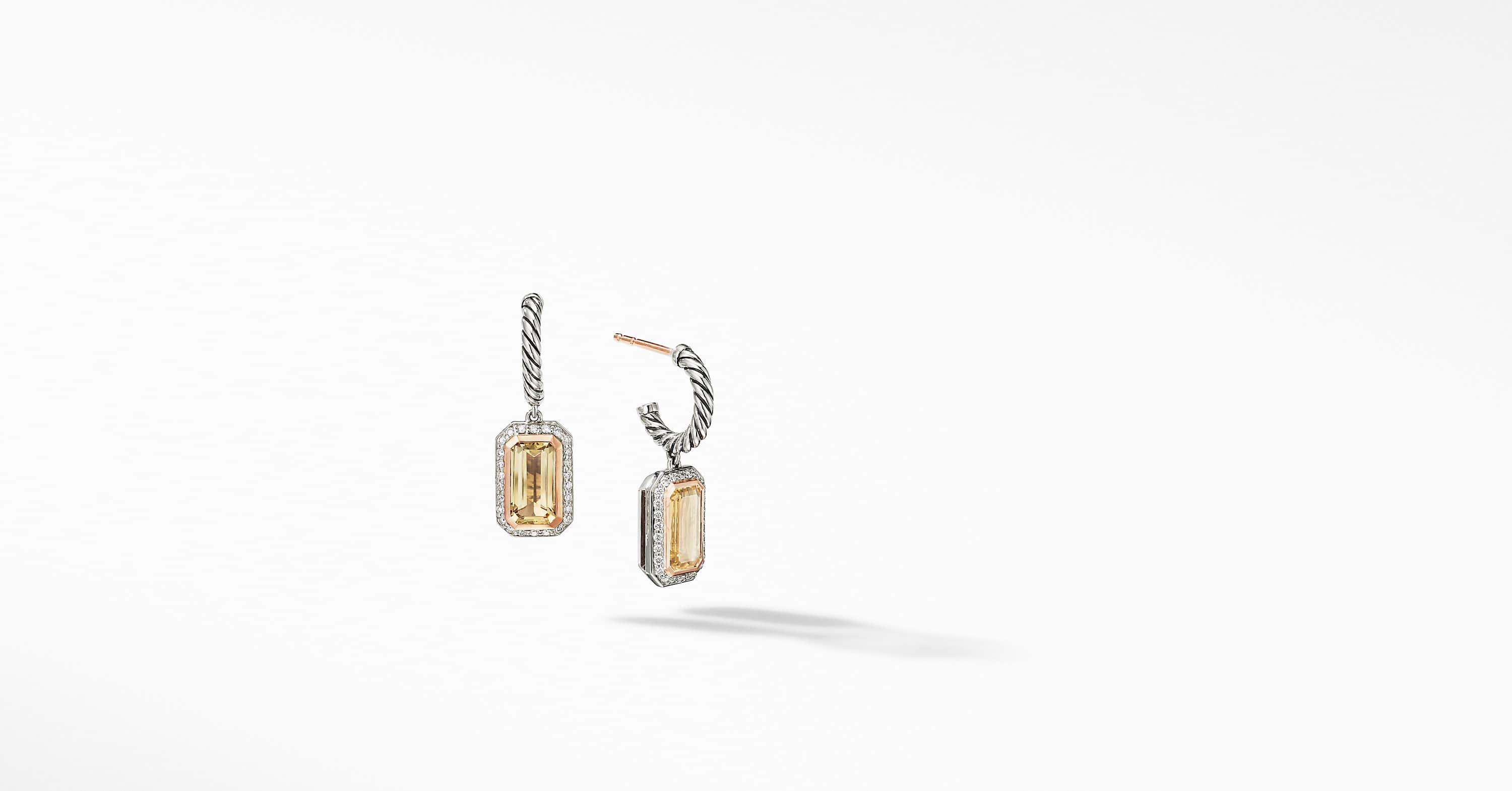 Novella Drop Earrings with Pavé and 18K Rose Gold