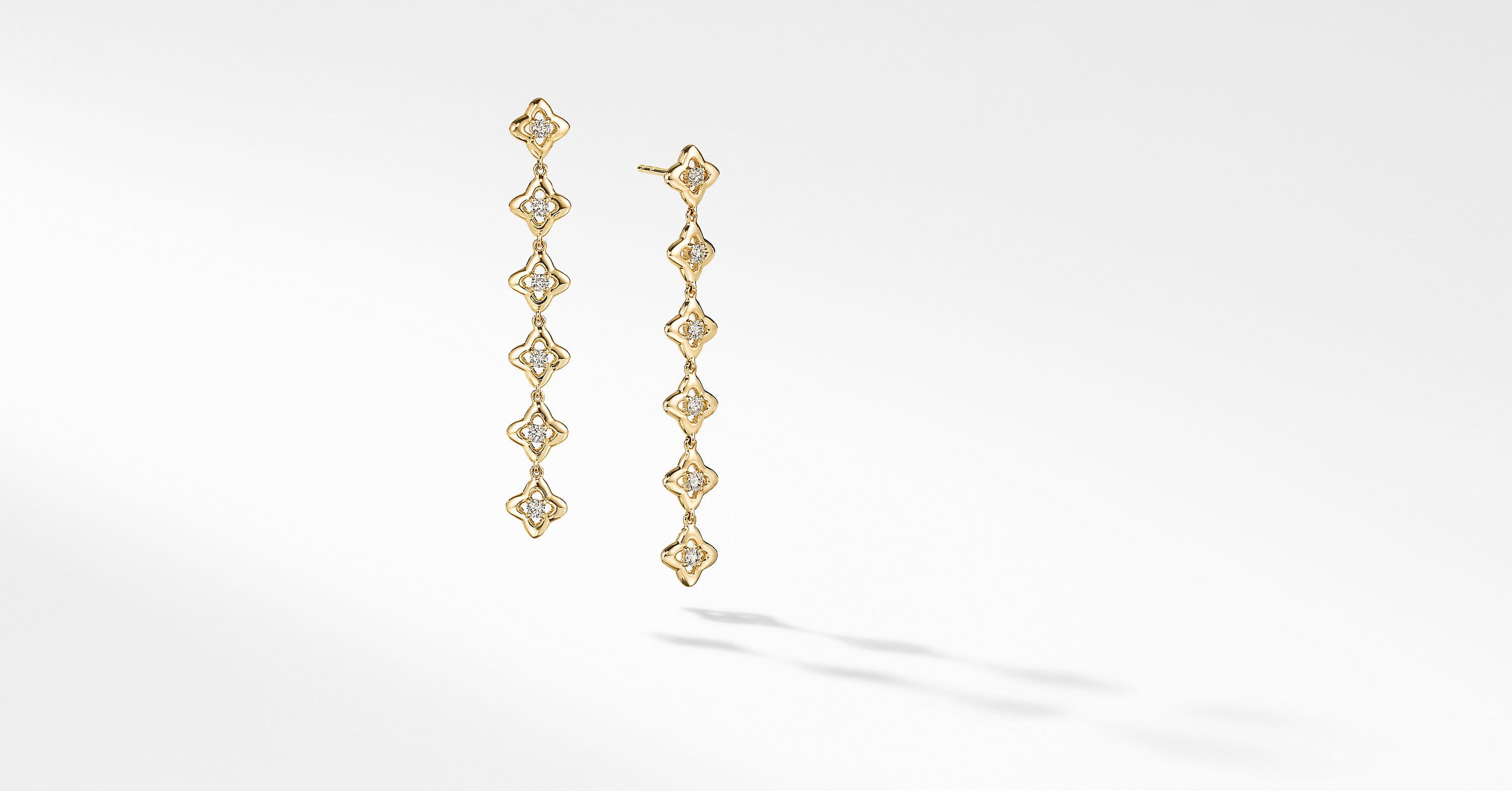 Long Drop Earrings in 18K Yellow Gold with Diamonds