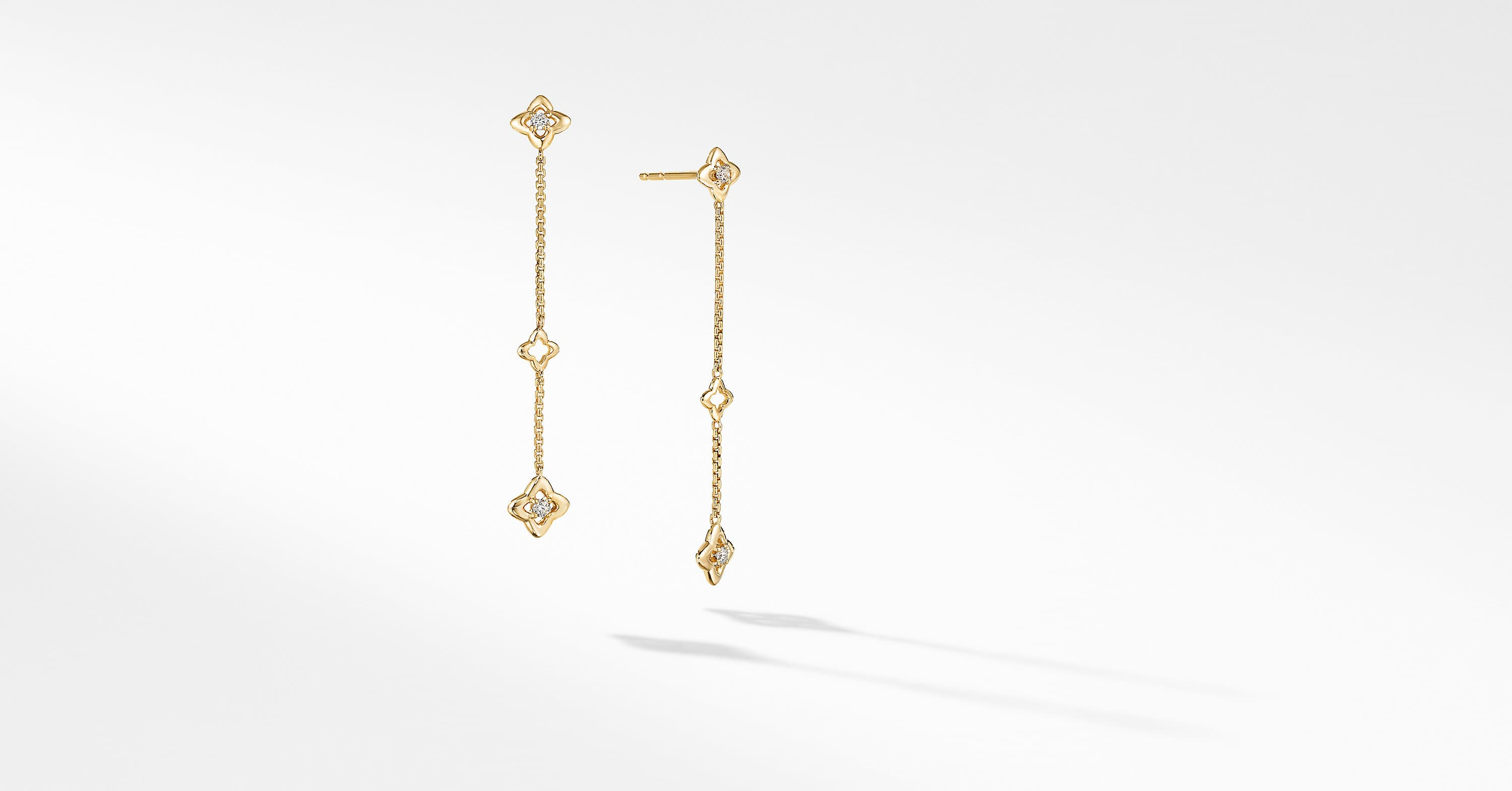 Three Station Drop Earrings in 18K Yellow Gold with Diamonds
