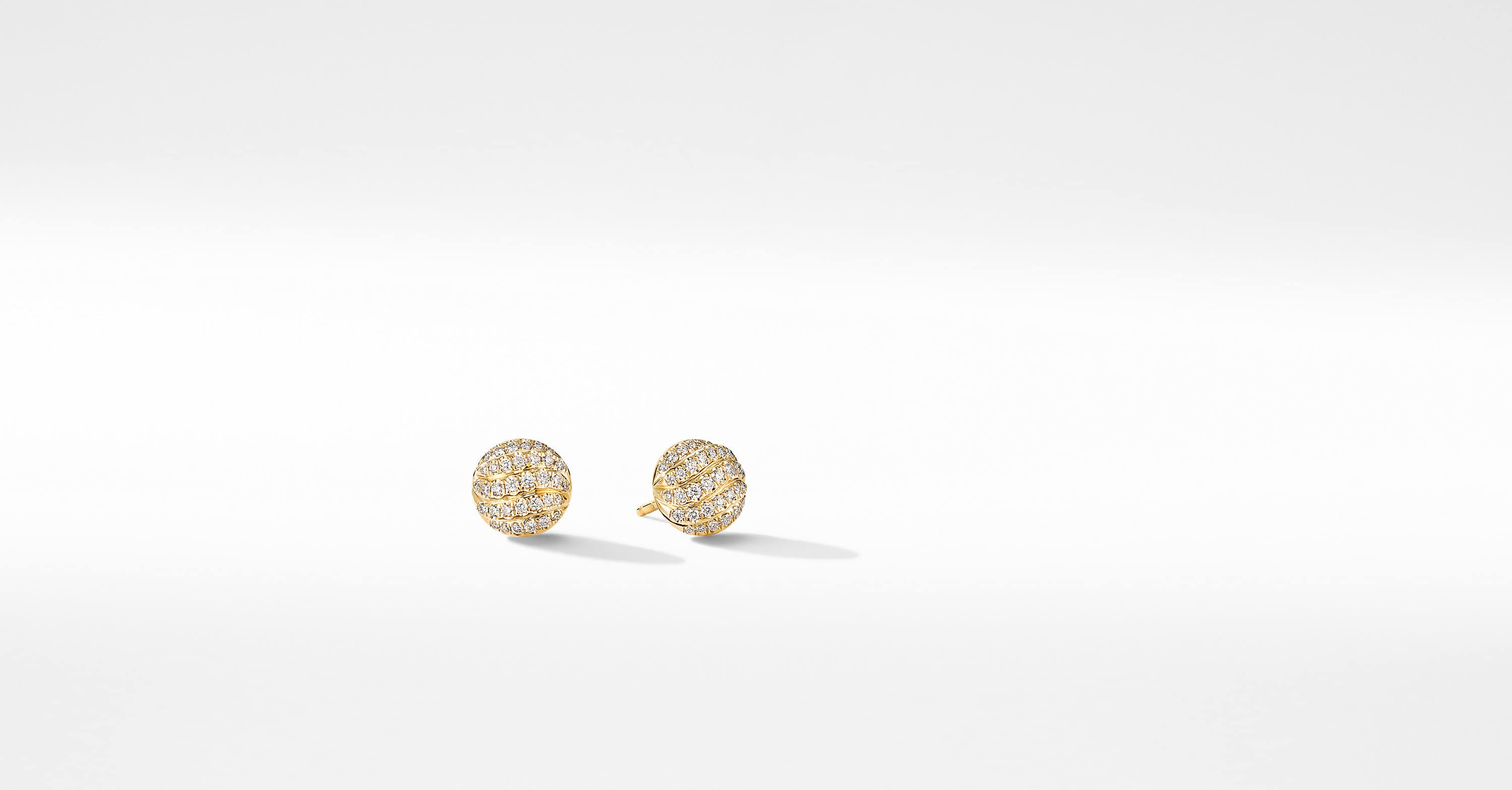 Mini Cable Stud Earrings in 18K Yellow Gold with Diamonds