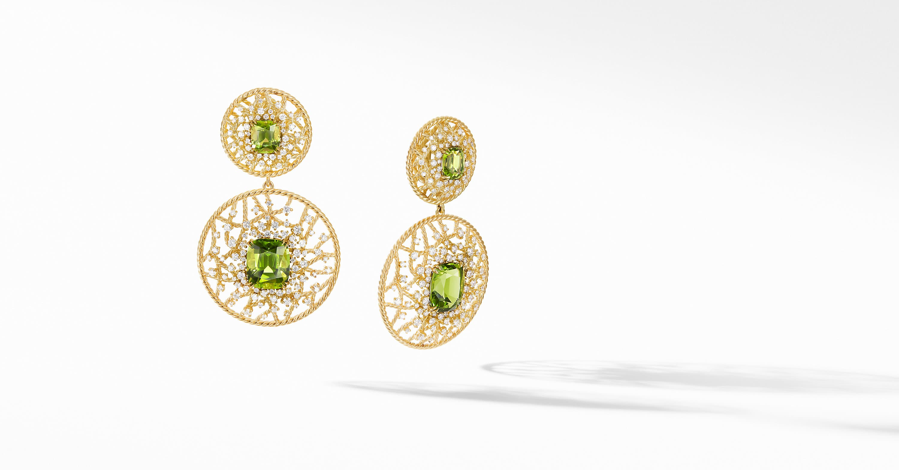 Fine Cable Round Drop Earrings in 18K Yellow Gold with Diamonds