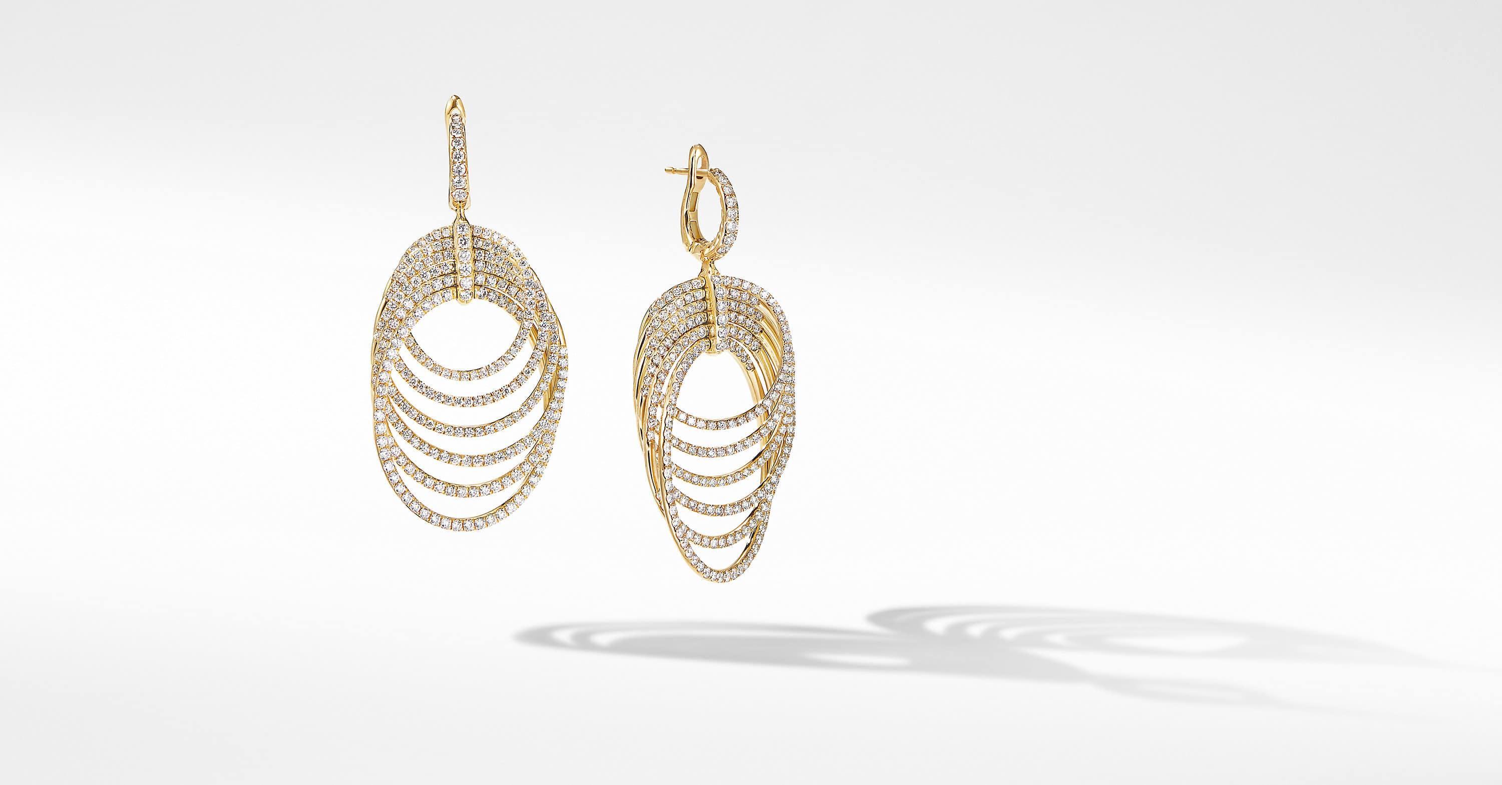 DY Origami Drop Earrings in 18K Yellow Gold with Full Pavé