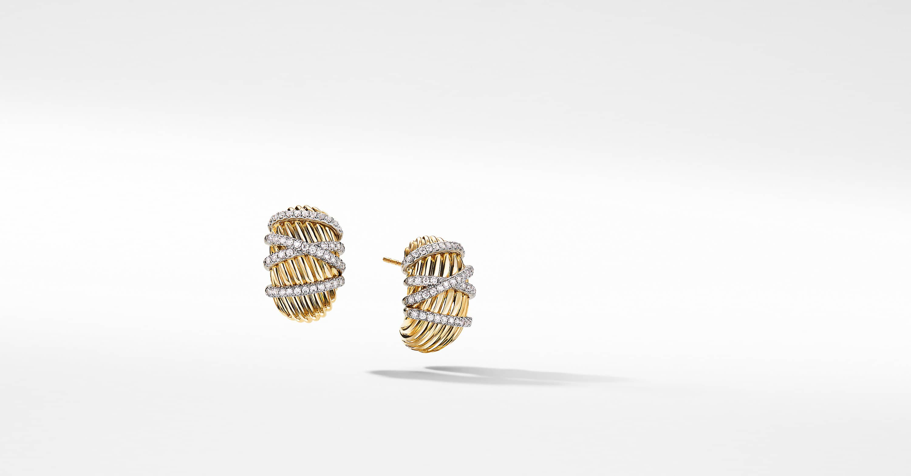 Helena Shrimp Earrings in 18K Yellow Gold with Diamonds