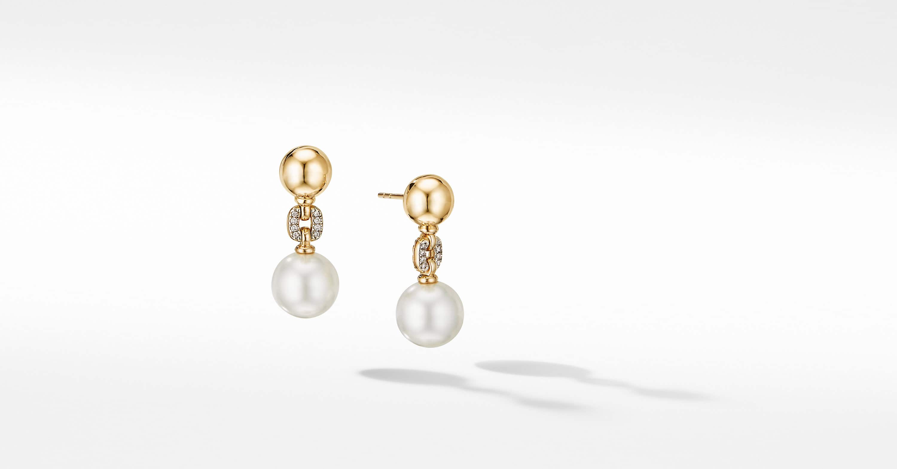 Solari Cushion Link Drop Earrings in 18K Yellow Gold with Pavé