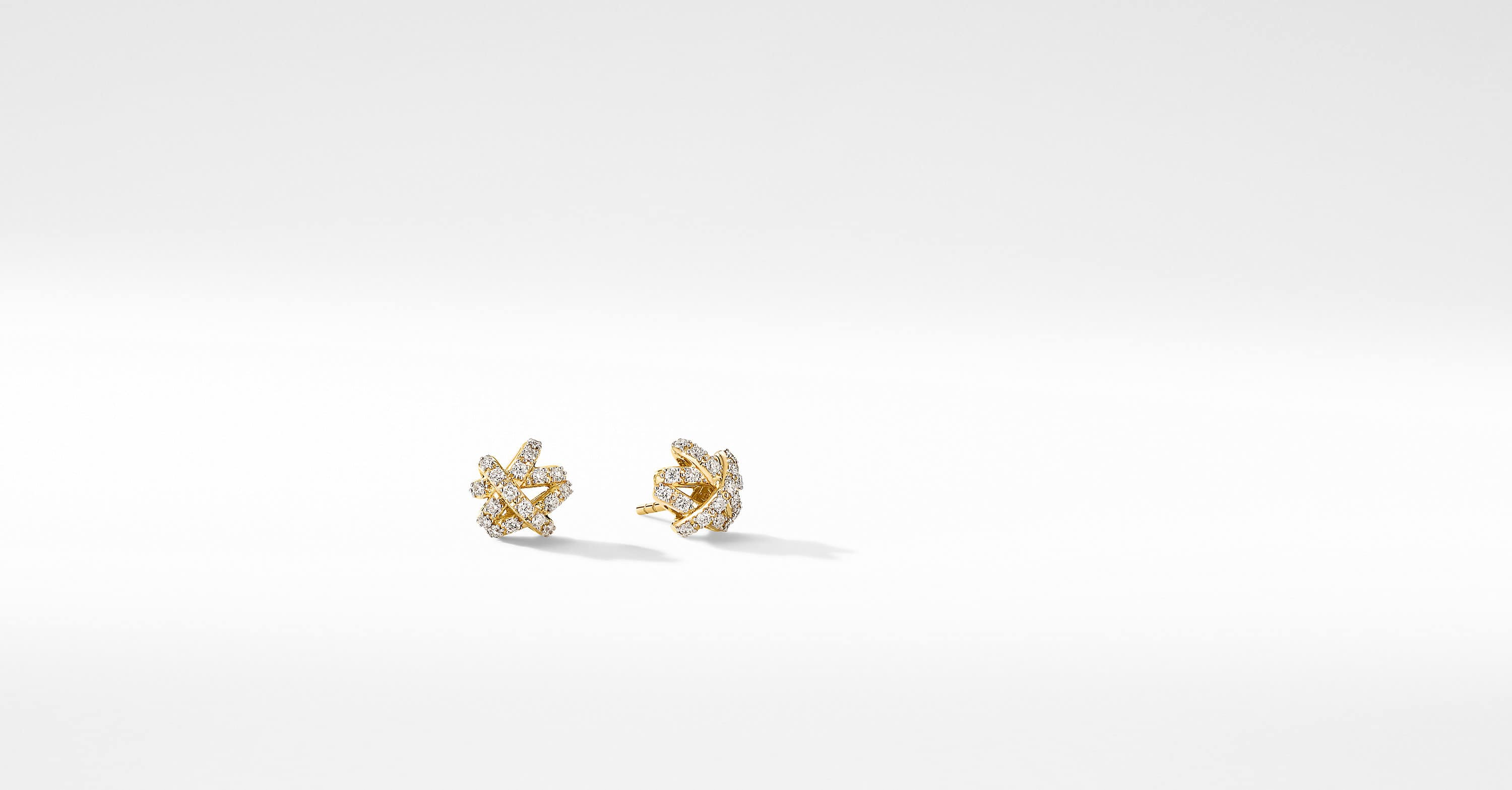 The Crossover Collection Stud Earrings in 18K Yellow Gold with Full Pavé