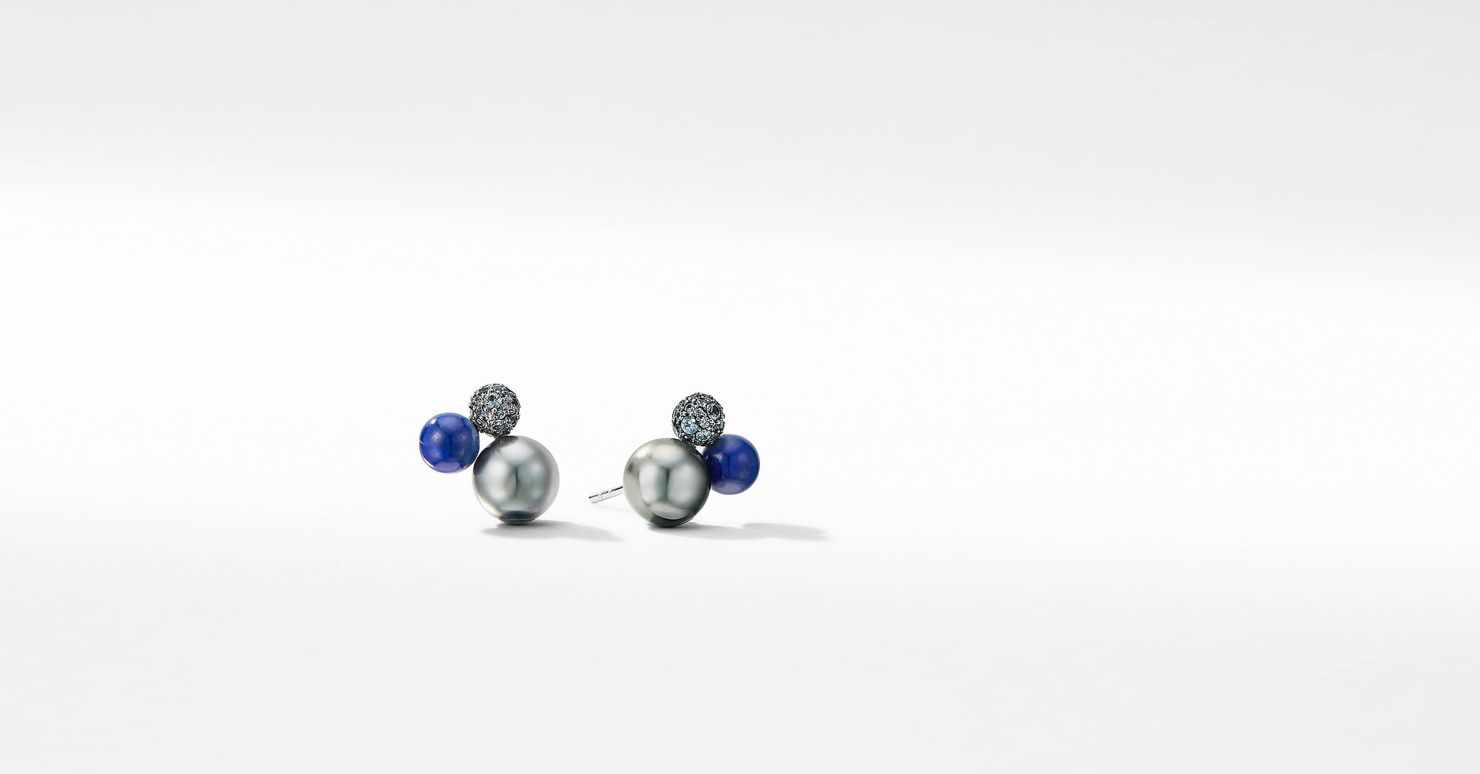Solari Cluster Stud Earrings in 18K White Gold