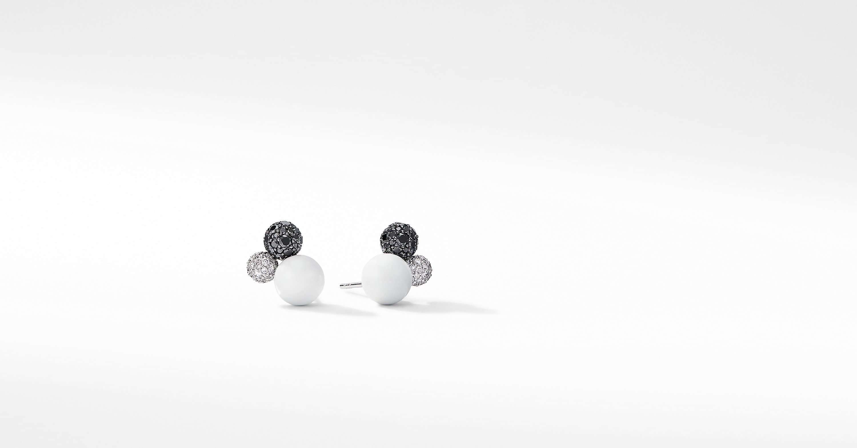 Solari Cluster Stud Earrings in 18K White Gold with Diamonds