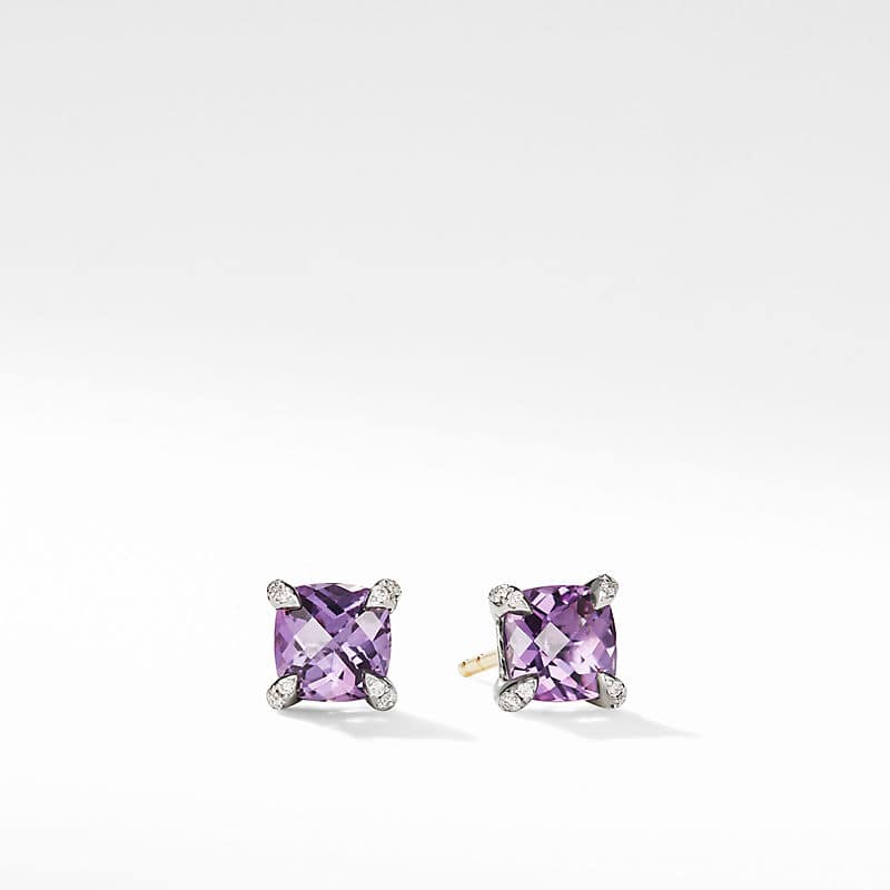 Chatelaine Stud Earrings with Diamonds, 6mm