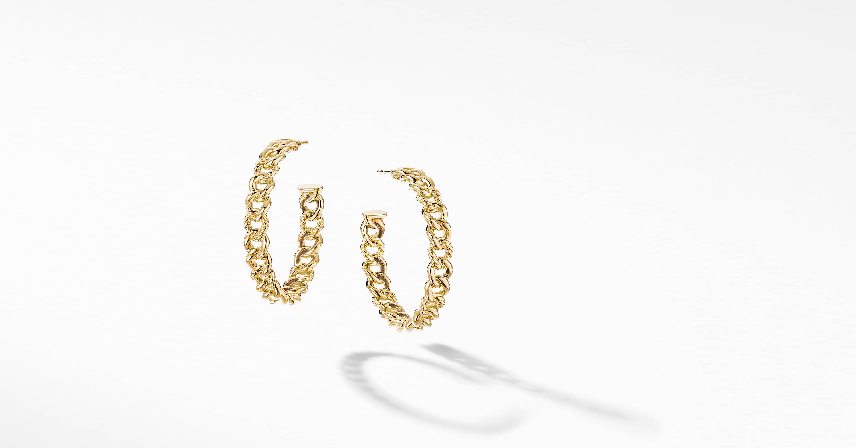 Belmont Curb Link Medium Hoop Earrings in 18K Yellow Gold