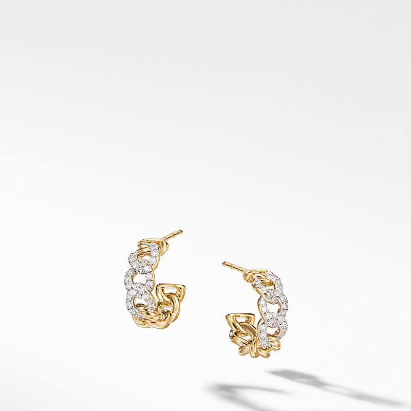 Belmont Curb Link Small Hoop Earrings in 18K Yellow Gold with Pavé