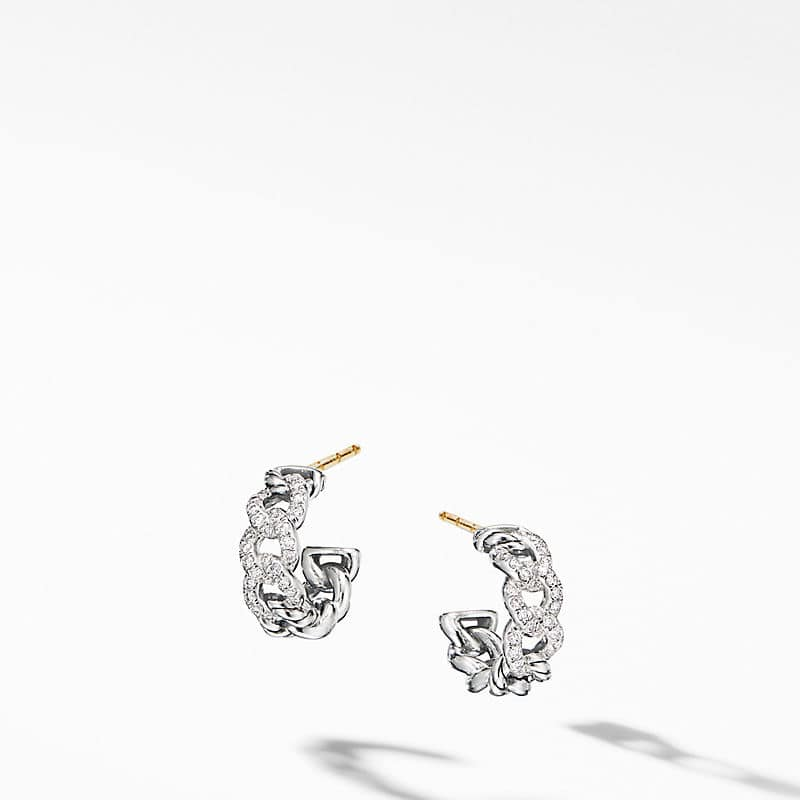 Belmont Curb Link Small Hoop Earrings with Pavé