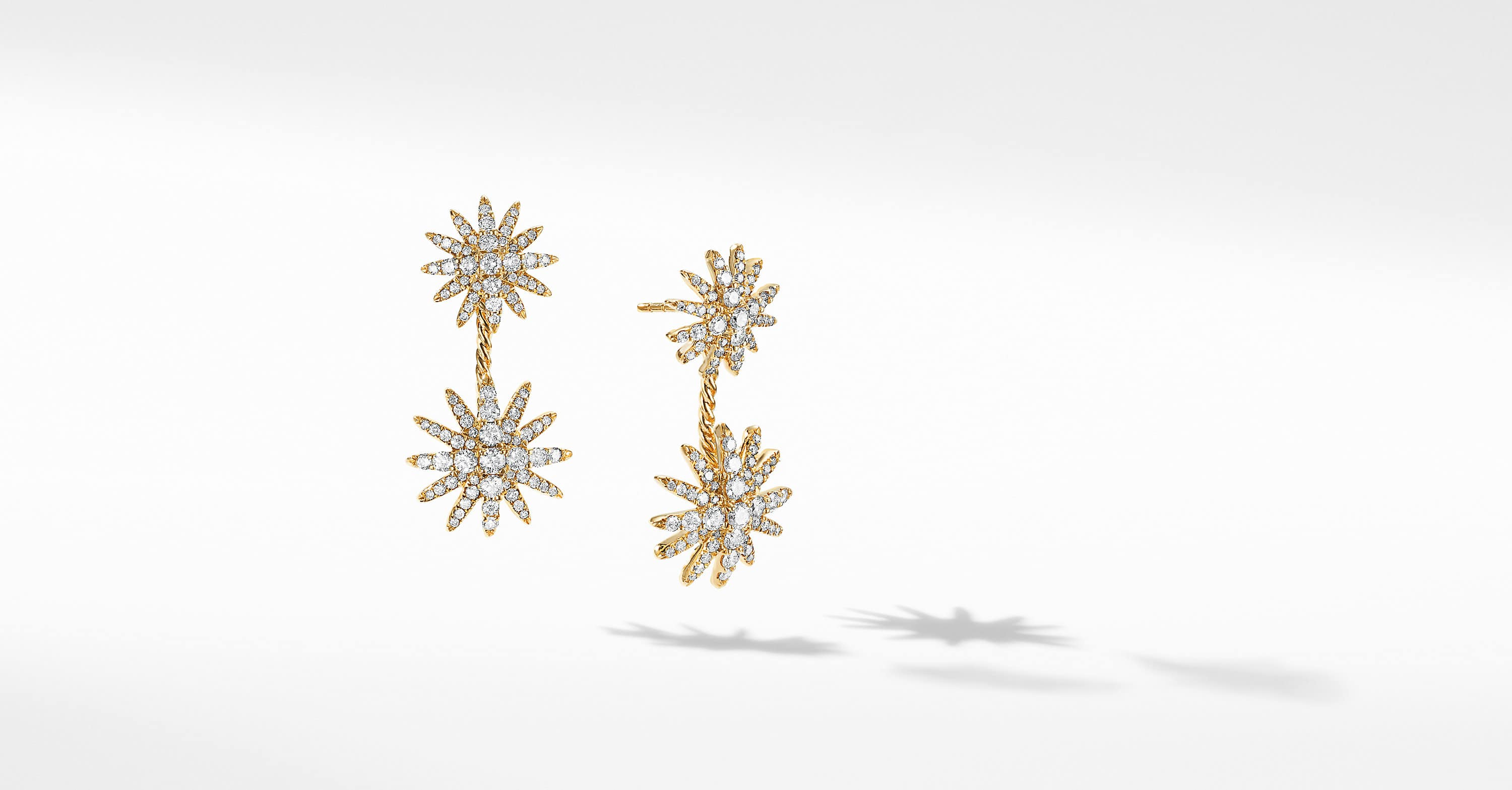 Starburst Double Drop Earrings in 18K Yellow Gold with Full Pavé