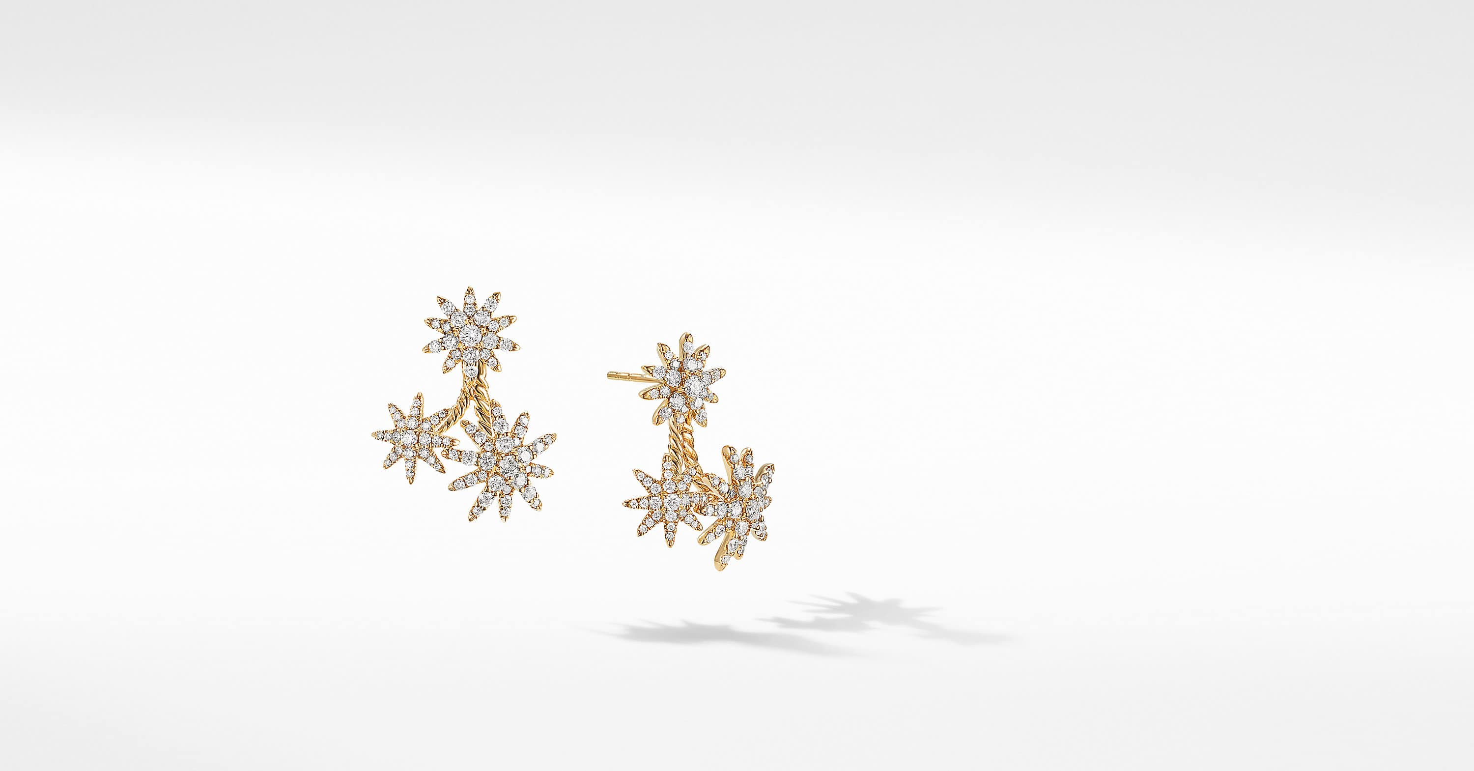 Starburst Cluster Earrings in 18K Yellow Gold with Full Pavé