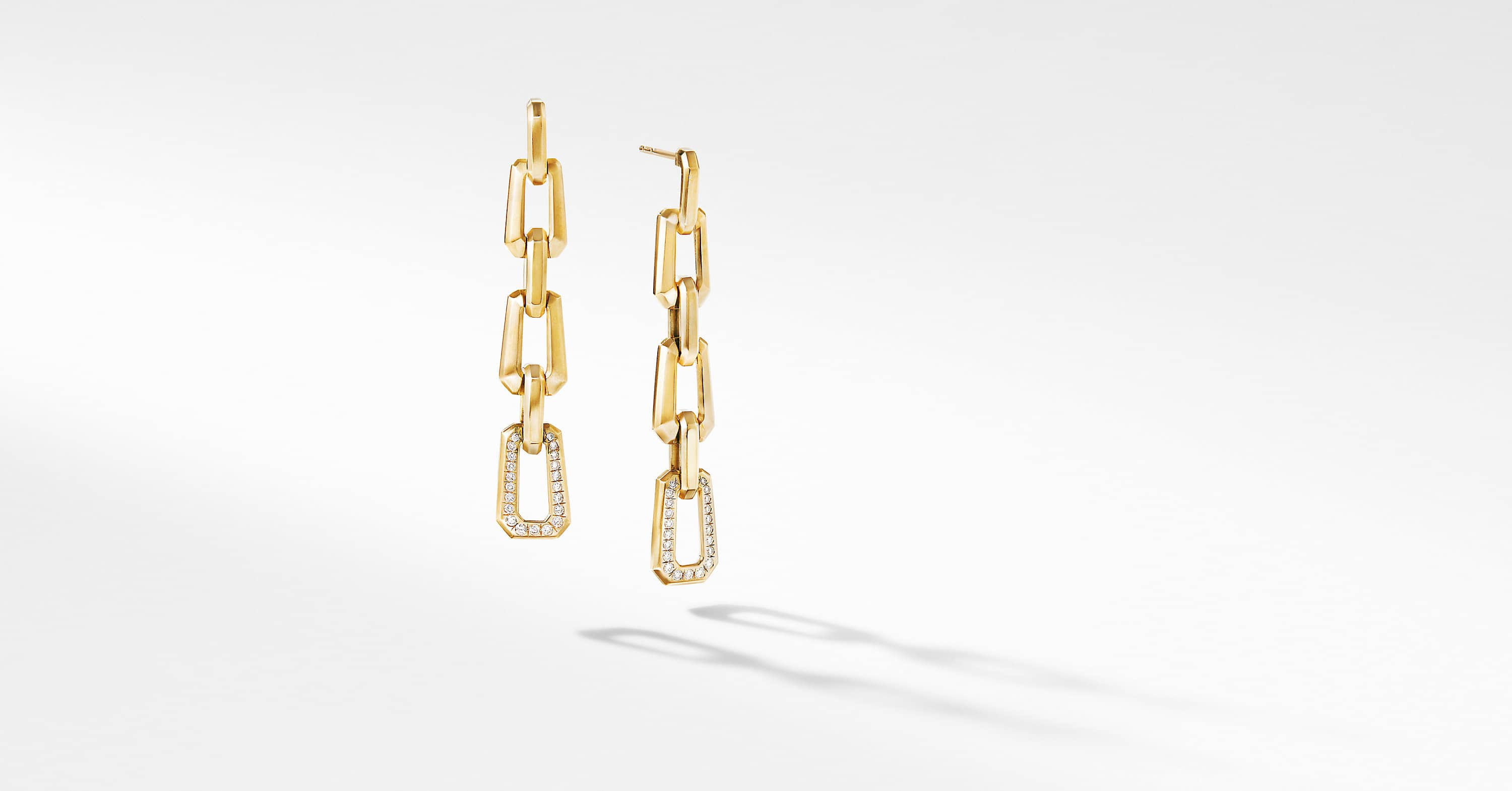 Novella Chain Link Drop Earrings in 18K Yellow Gold with Pavé