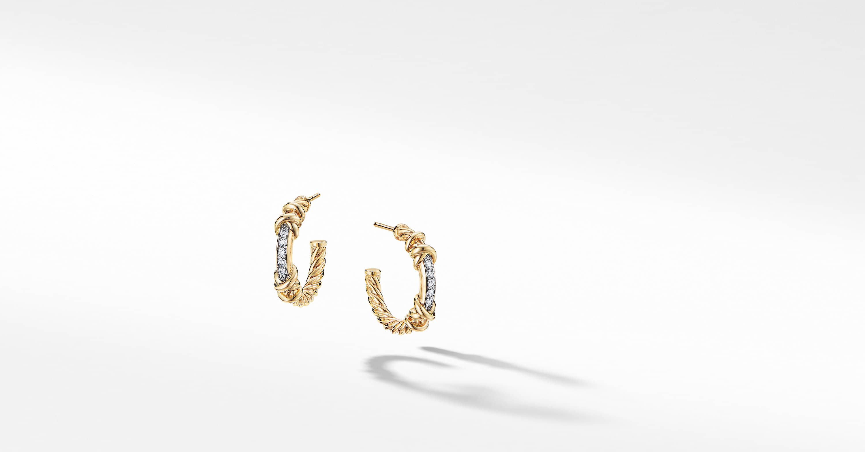 Petite Helena Hoop Earrings in 18K Yellow Gold with Diamonds, 3/4""