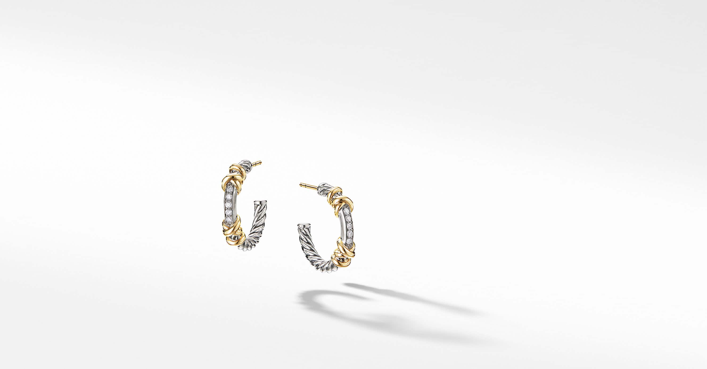 Petite Helena Hoop Earrings with 18K Yellow Gold and Diamonds, 3/4""