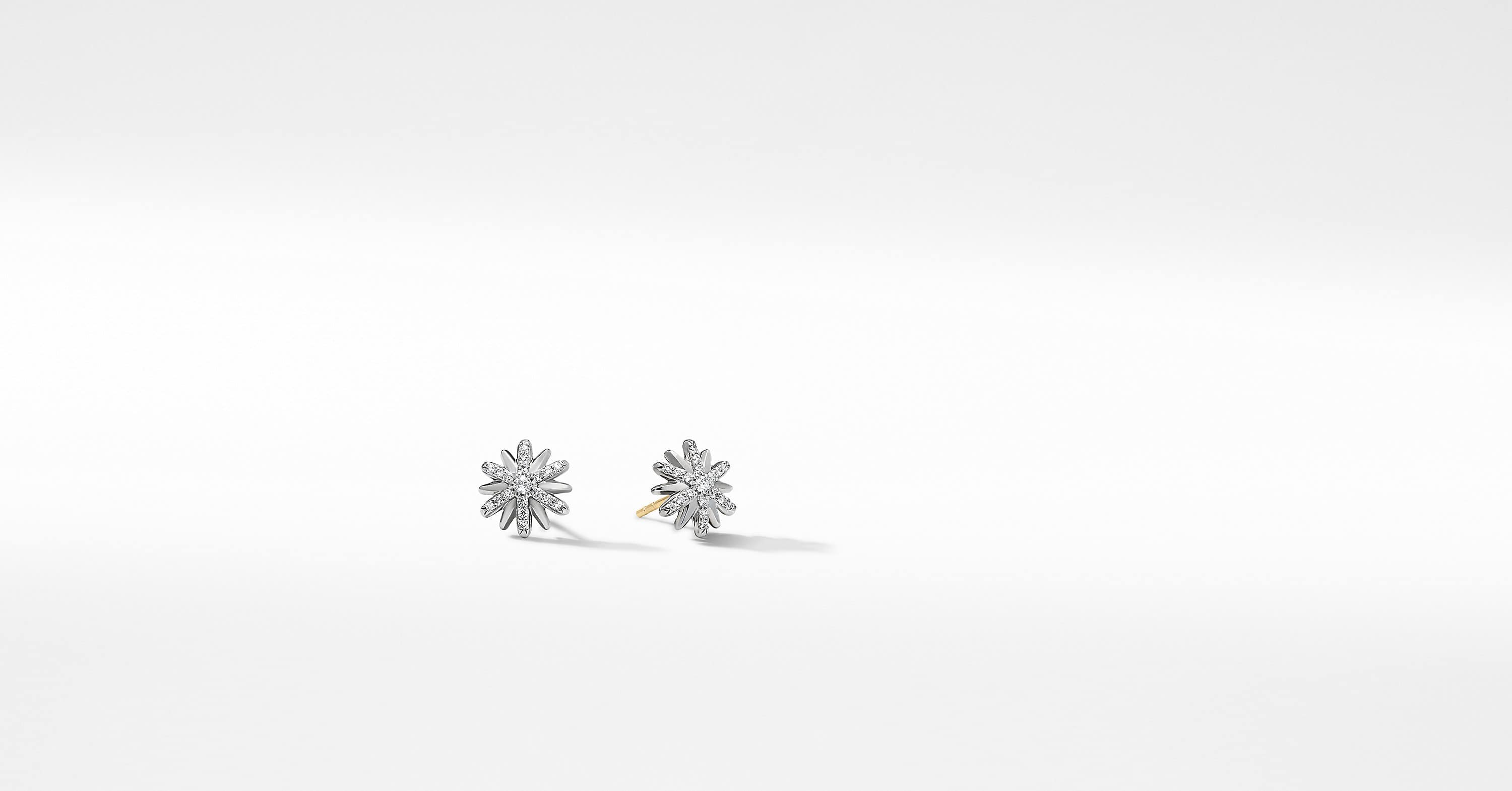 Petite Starburst Stud Earrings with Diamonds, 10mm