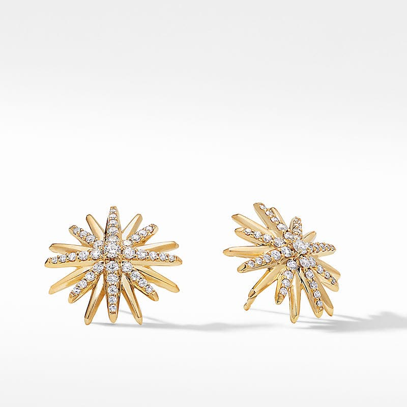 Starburst Stud Earrings in 18K Yellow Gold with Diamonds, 19mm