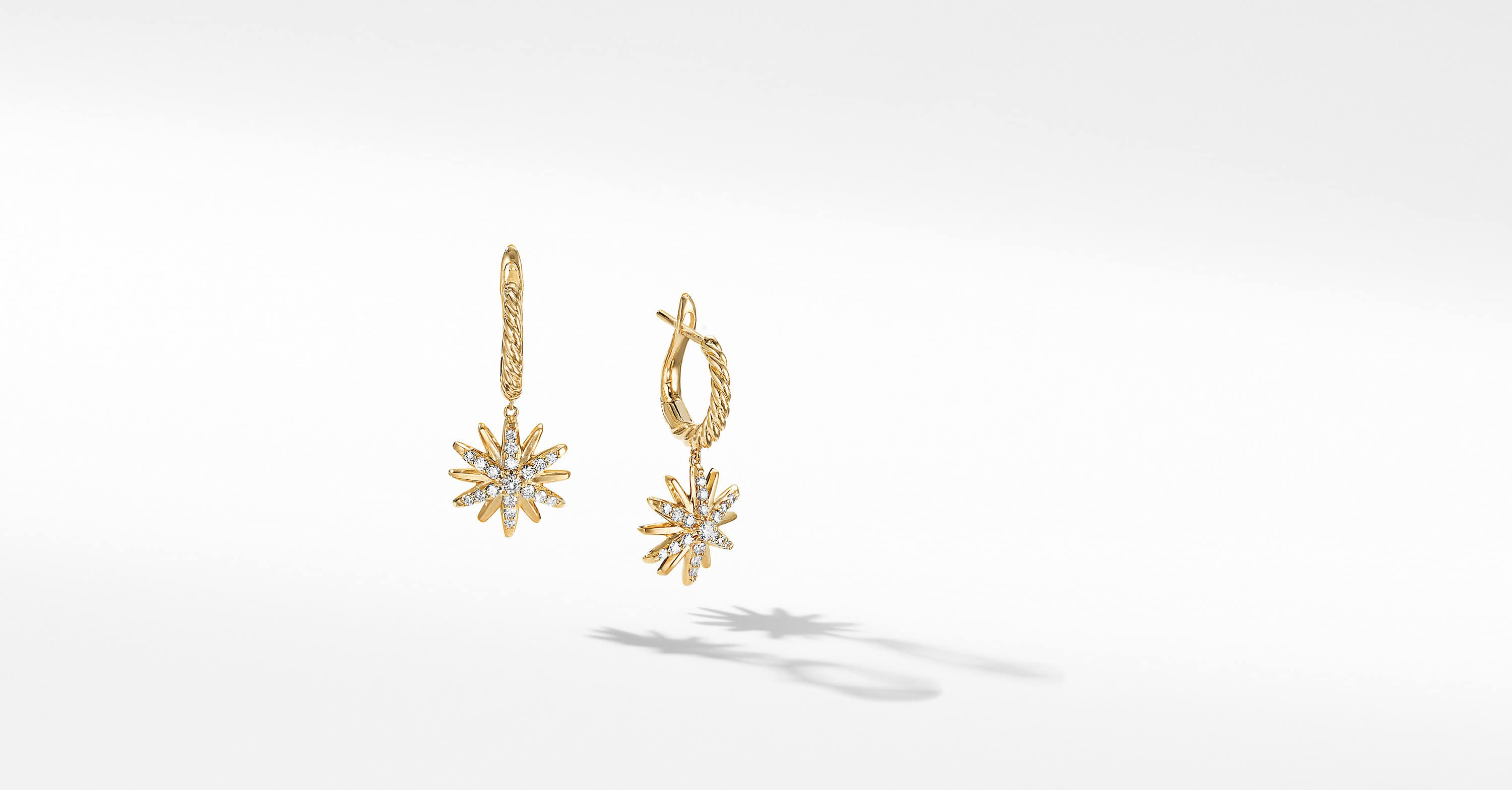Starburst Drop Earrings in 18K Yellow Gold with Diamonds, 13mm