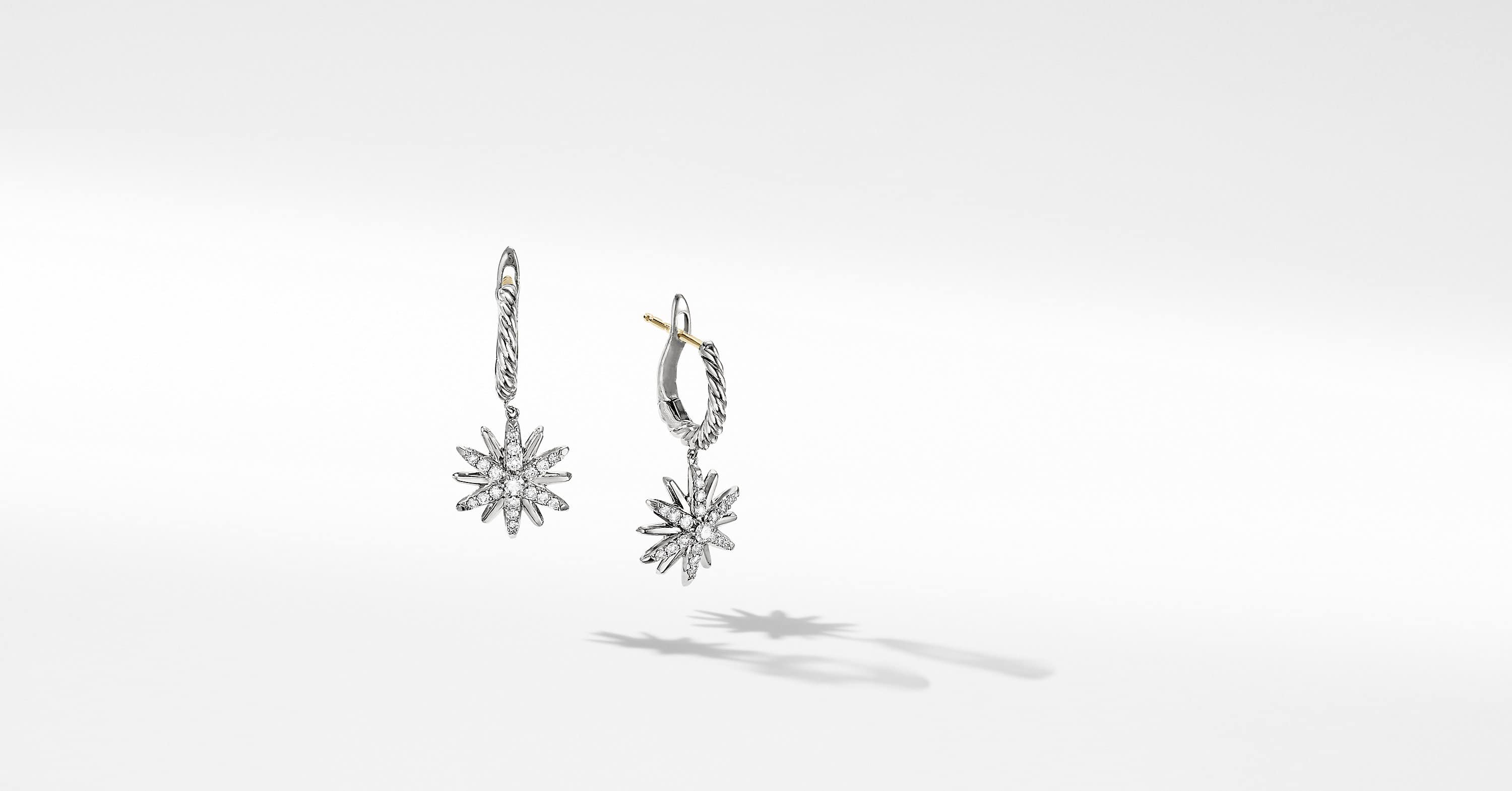 Starburst Drop Earrings with Diamonds, 13mm