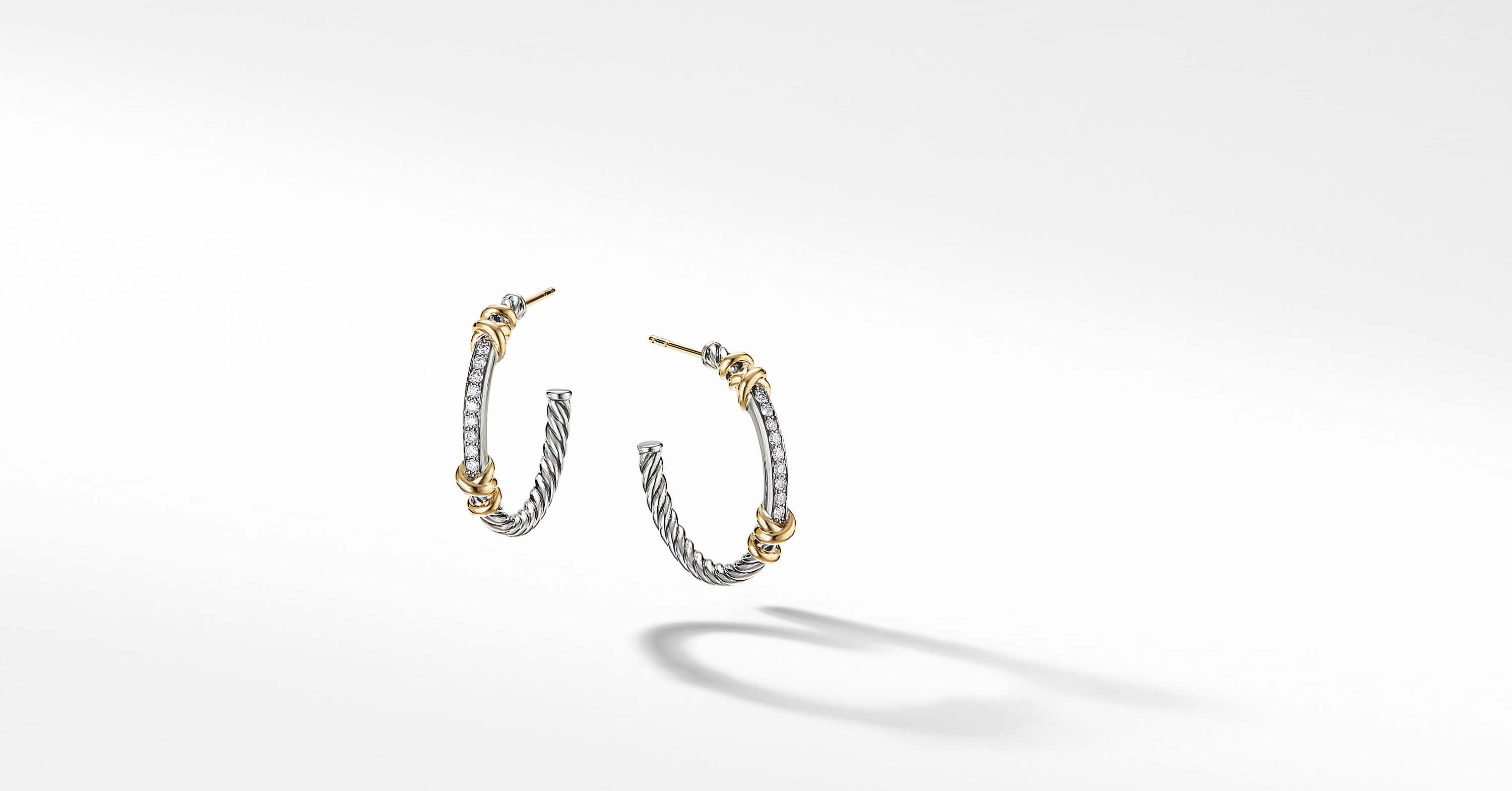 Petite Helena Hoop Earrings with 18K Yellow Gold and Diamonds, 1""