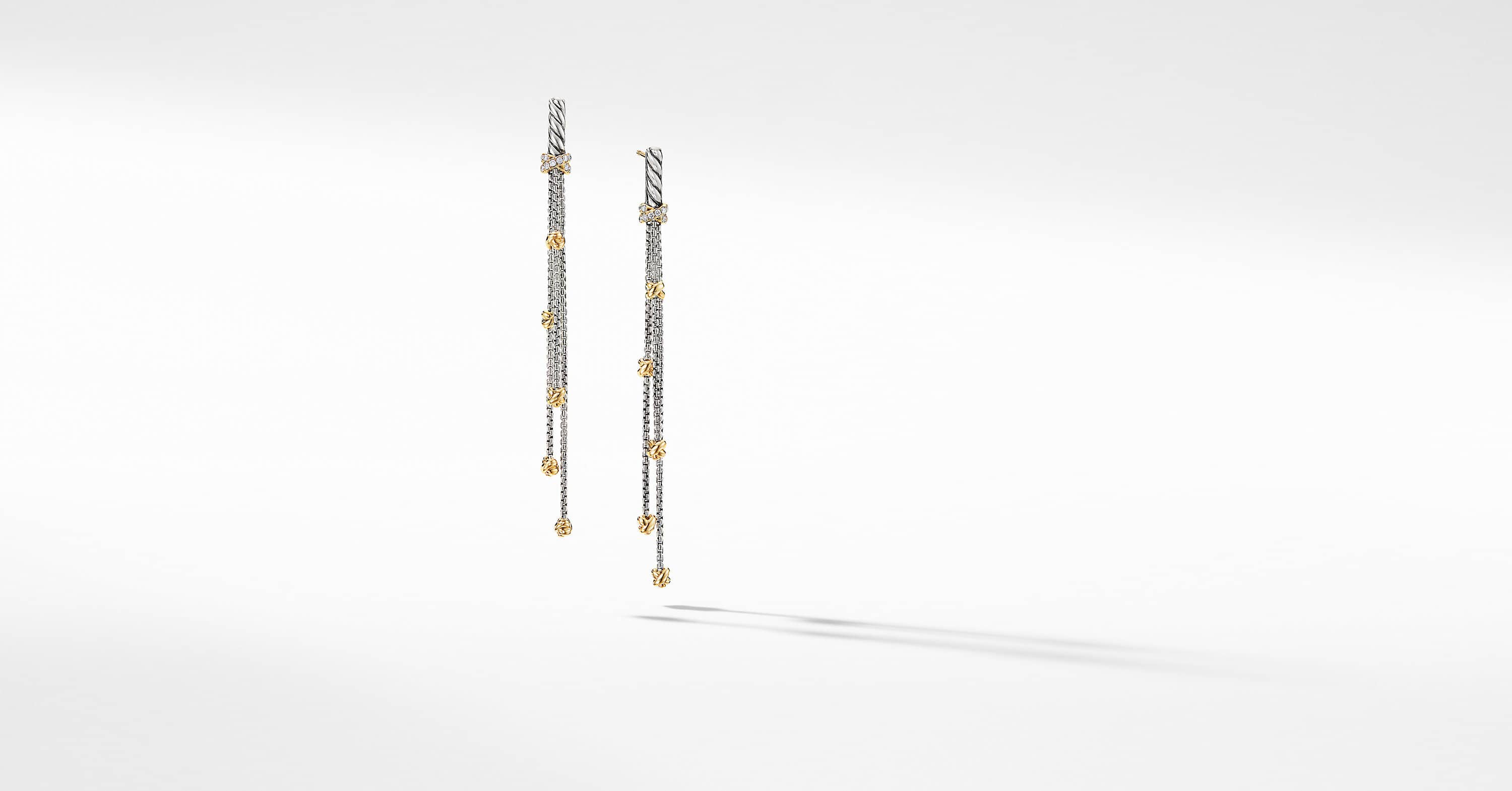 Petite Helena Chain Drop Earrings with 18K Yellow Gold with Diamonds