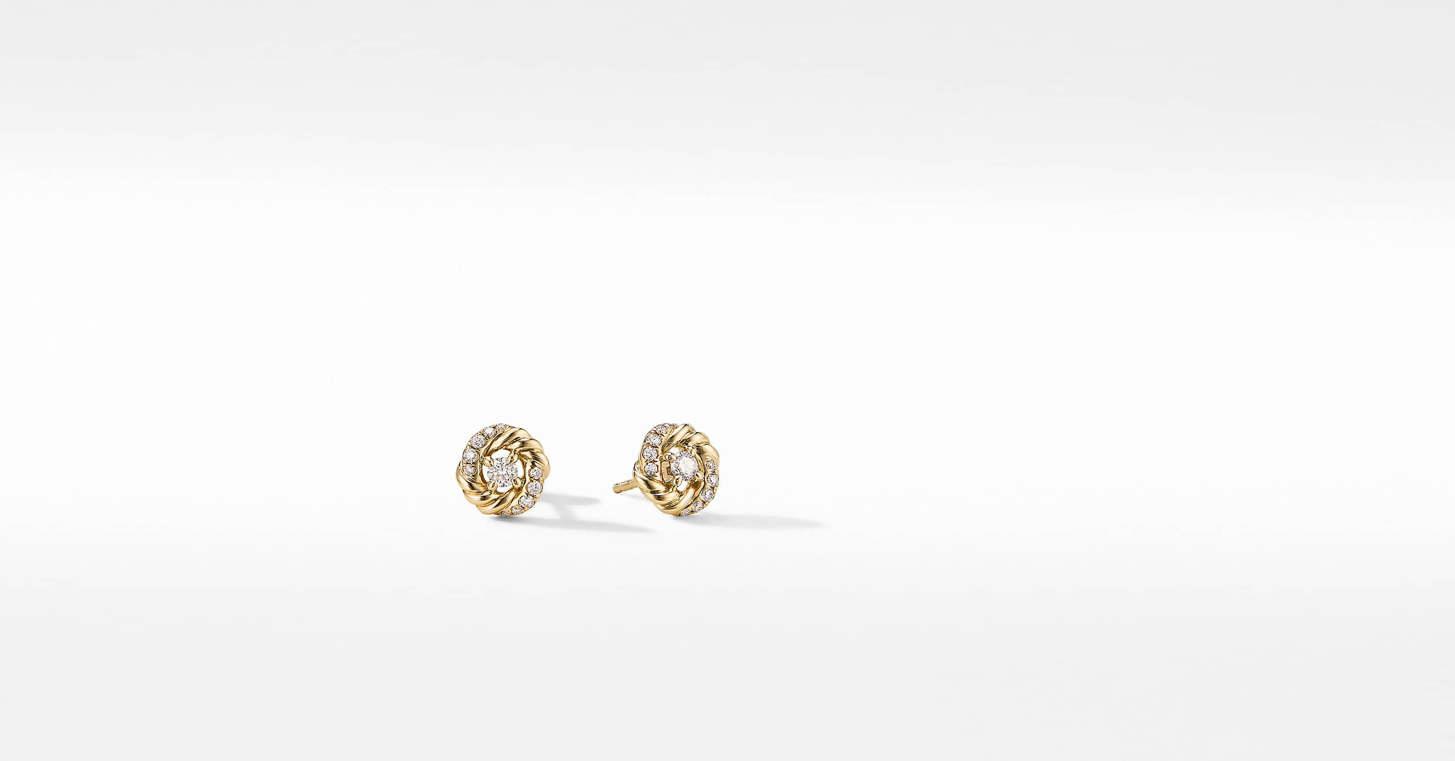 Petite Infinity Stud Earrings in 18K Yellow Gold with Diamonds