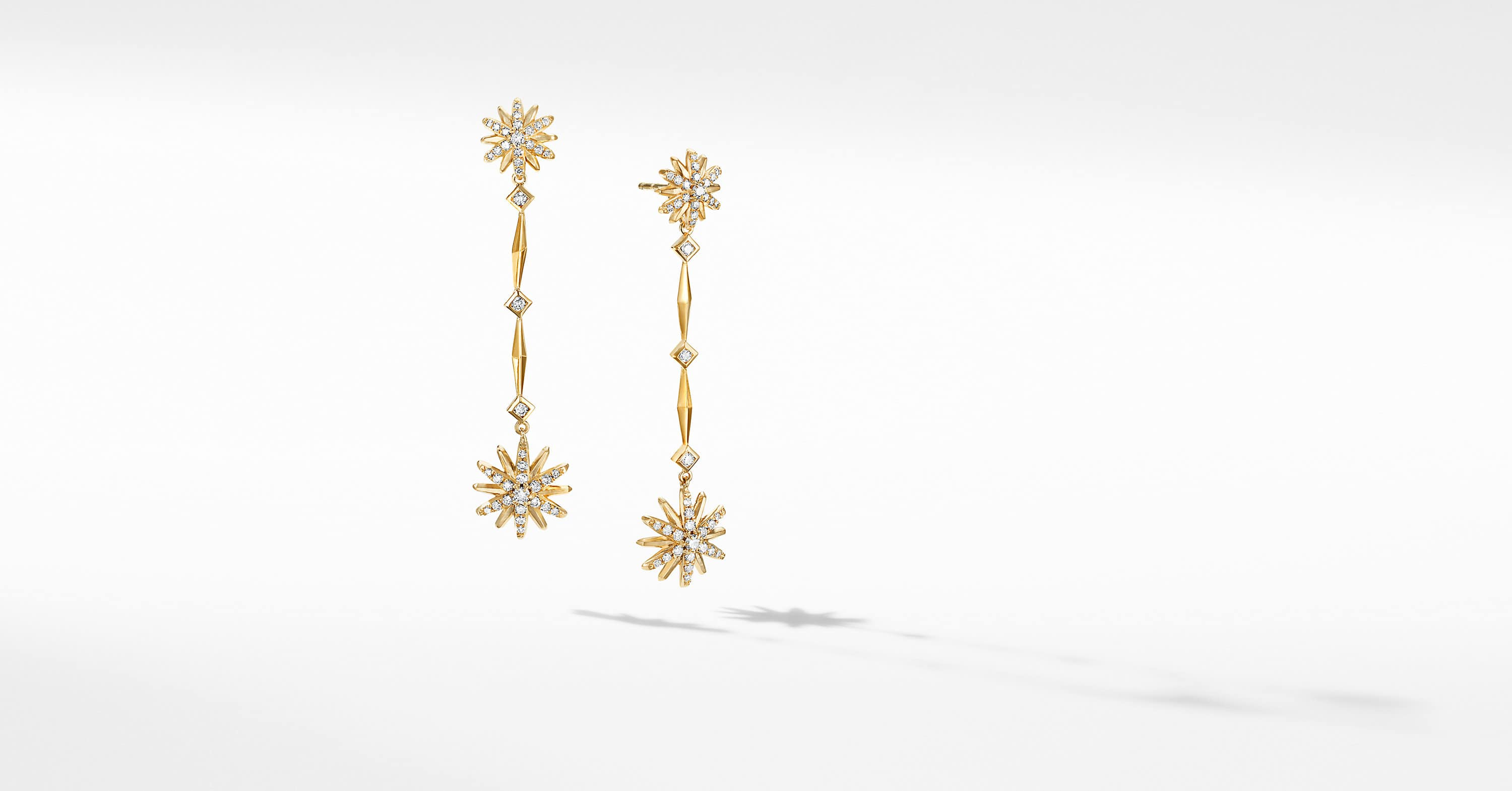 Starburst Long Drop Earrings in 18K Yellow Gold with Diamonds