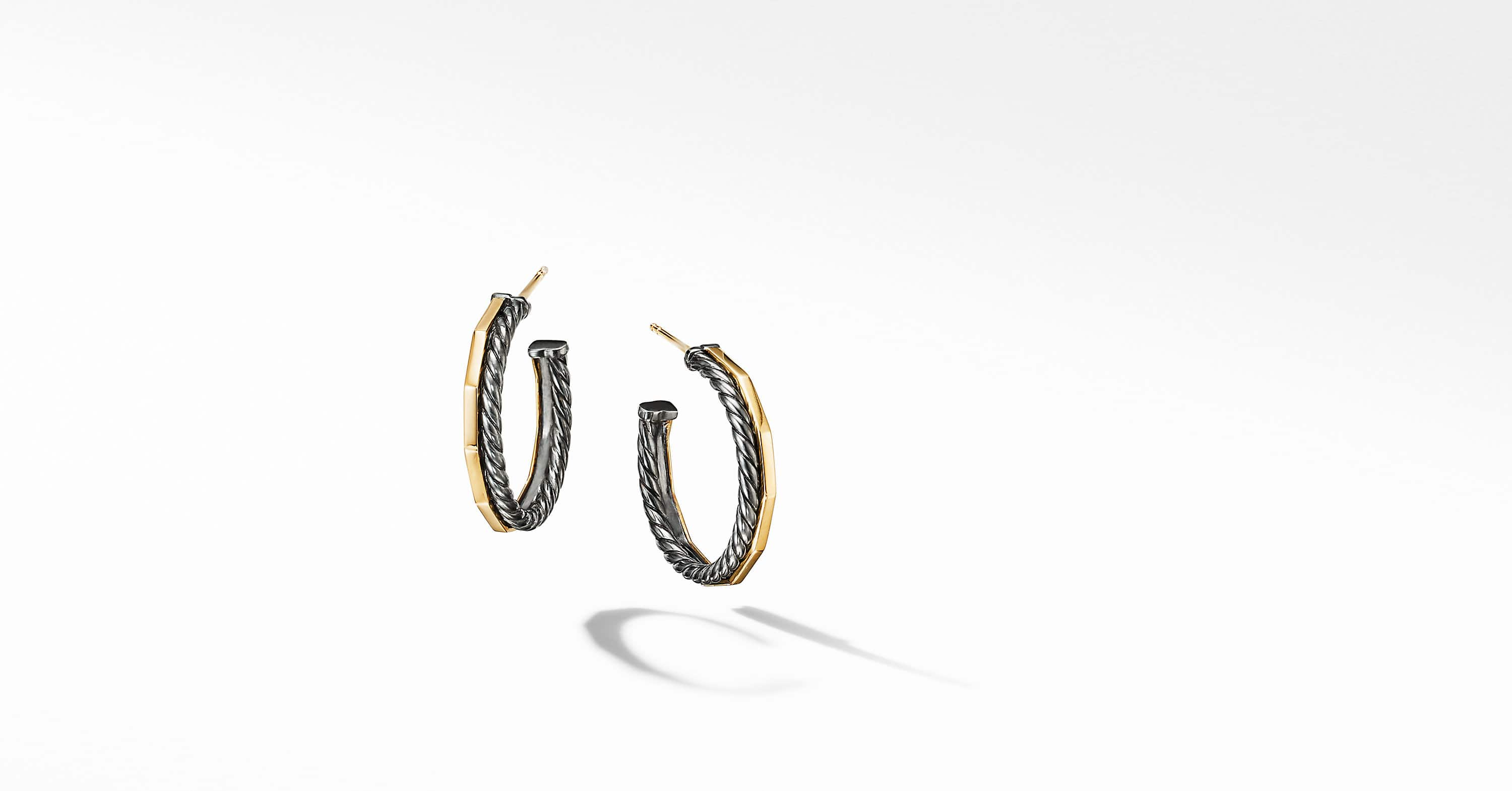Stax Hoop Earrings in Blackened Silver
