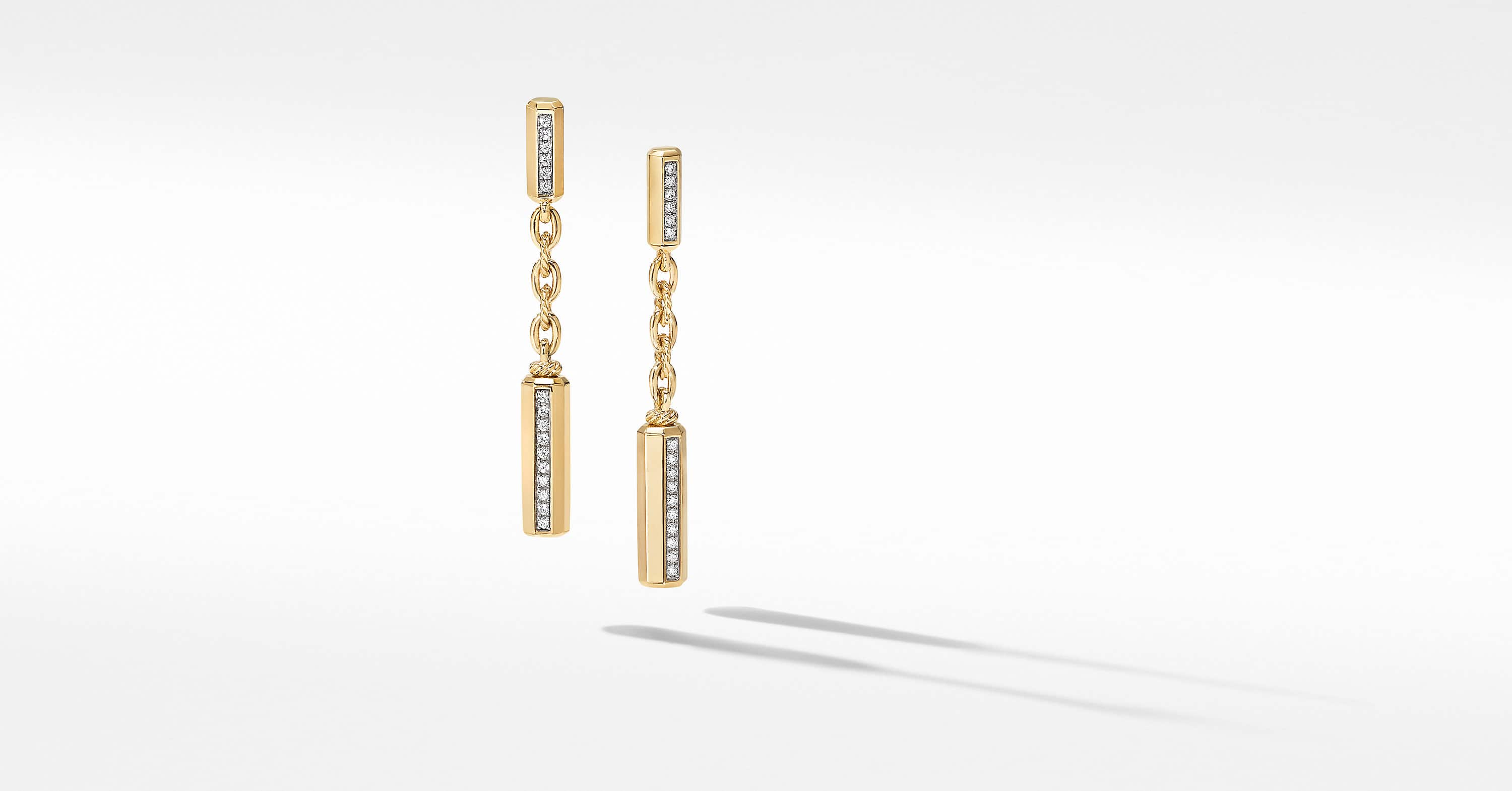 Lexington Chain Drop Earrings 18K Yellow Gold with Diamonds
