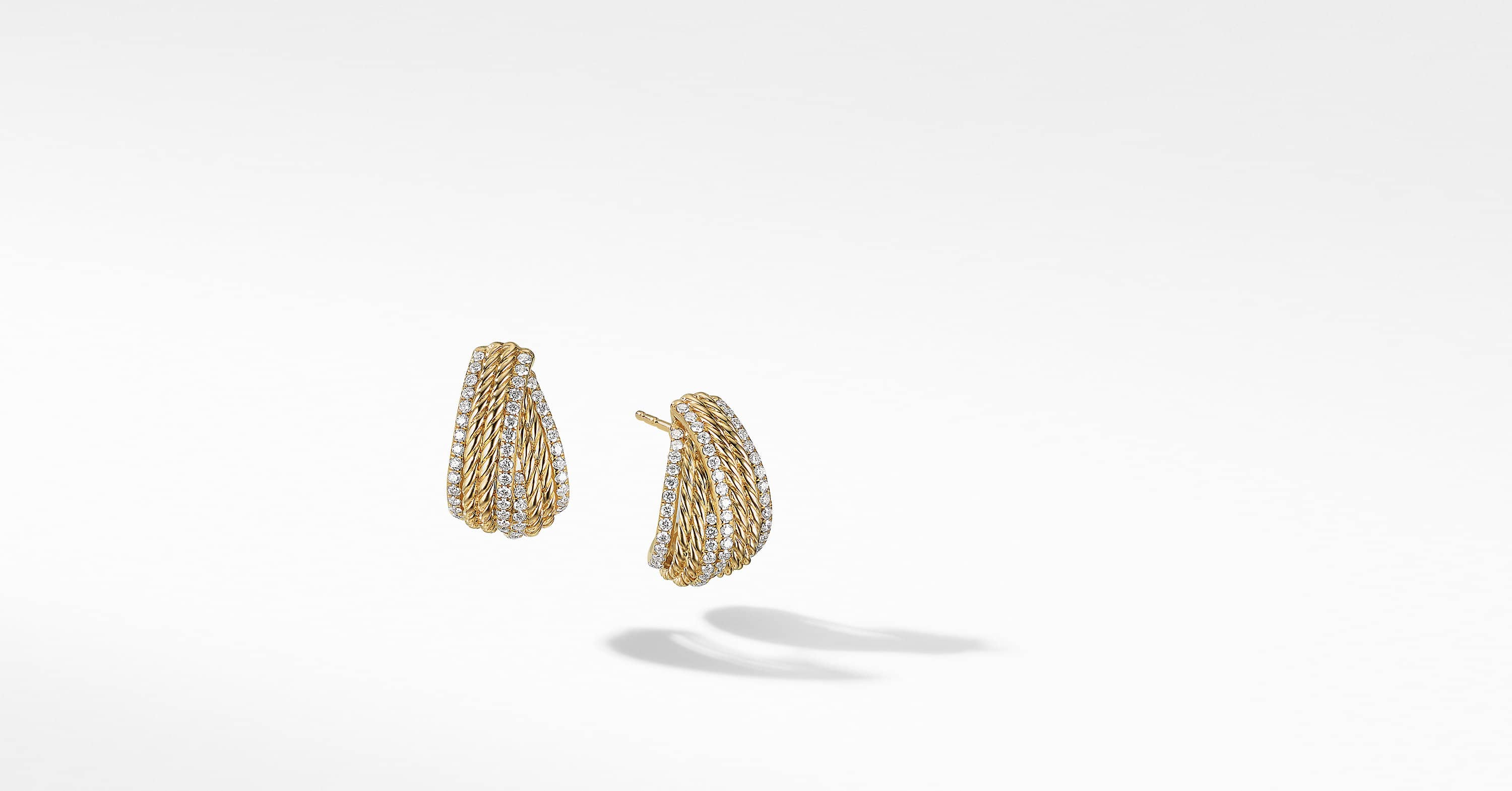 DY Origami Shrimp Earrings in 18K Yellow Gold with Pavé, 11mm