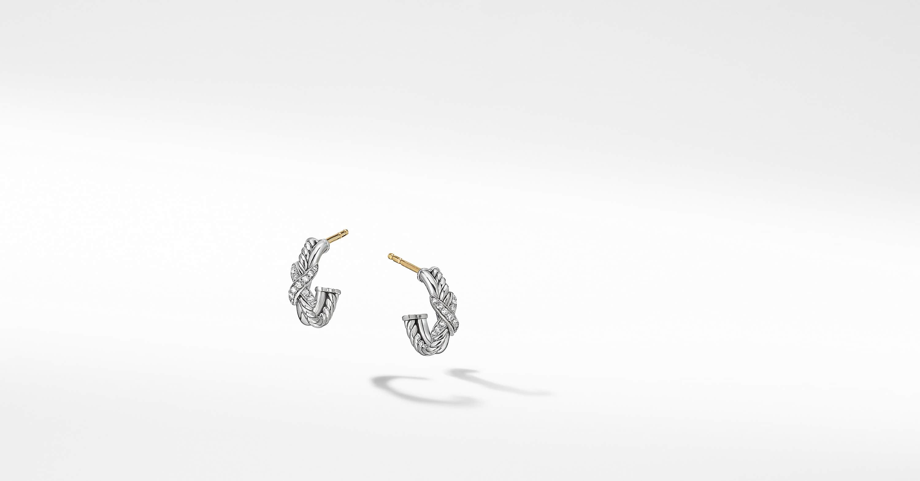 Petite X Mini Hoop Earrings with Diamonds, 12.6mm
