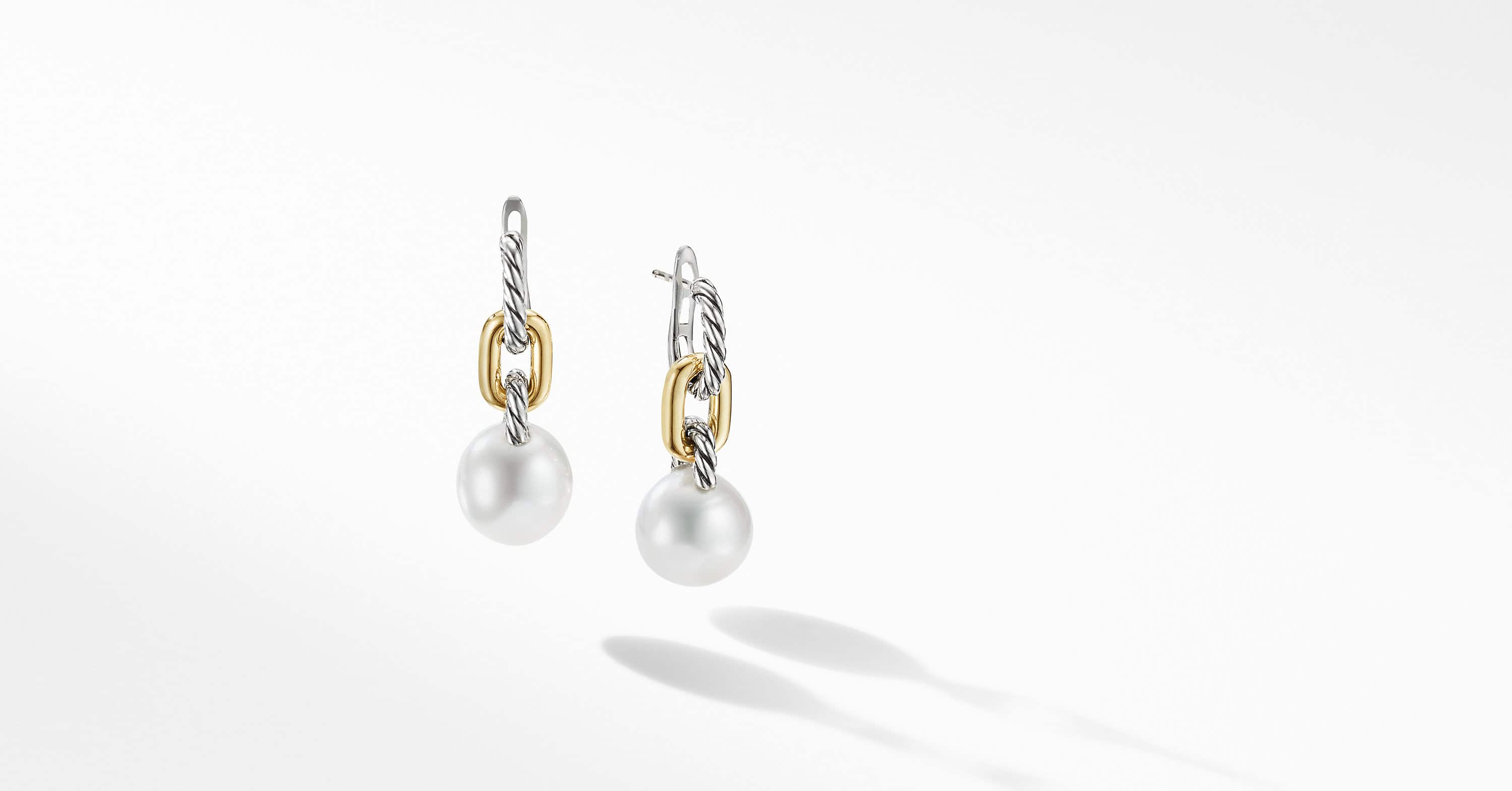 DY Madison Pearl Chain Drop Earrings with 18K Yellow Gold, 32.3mm