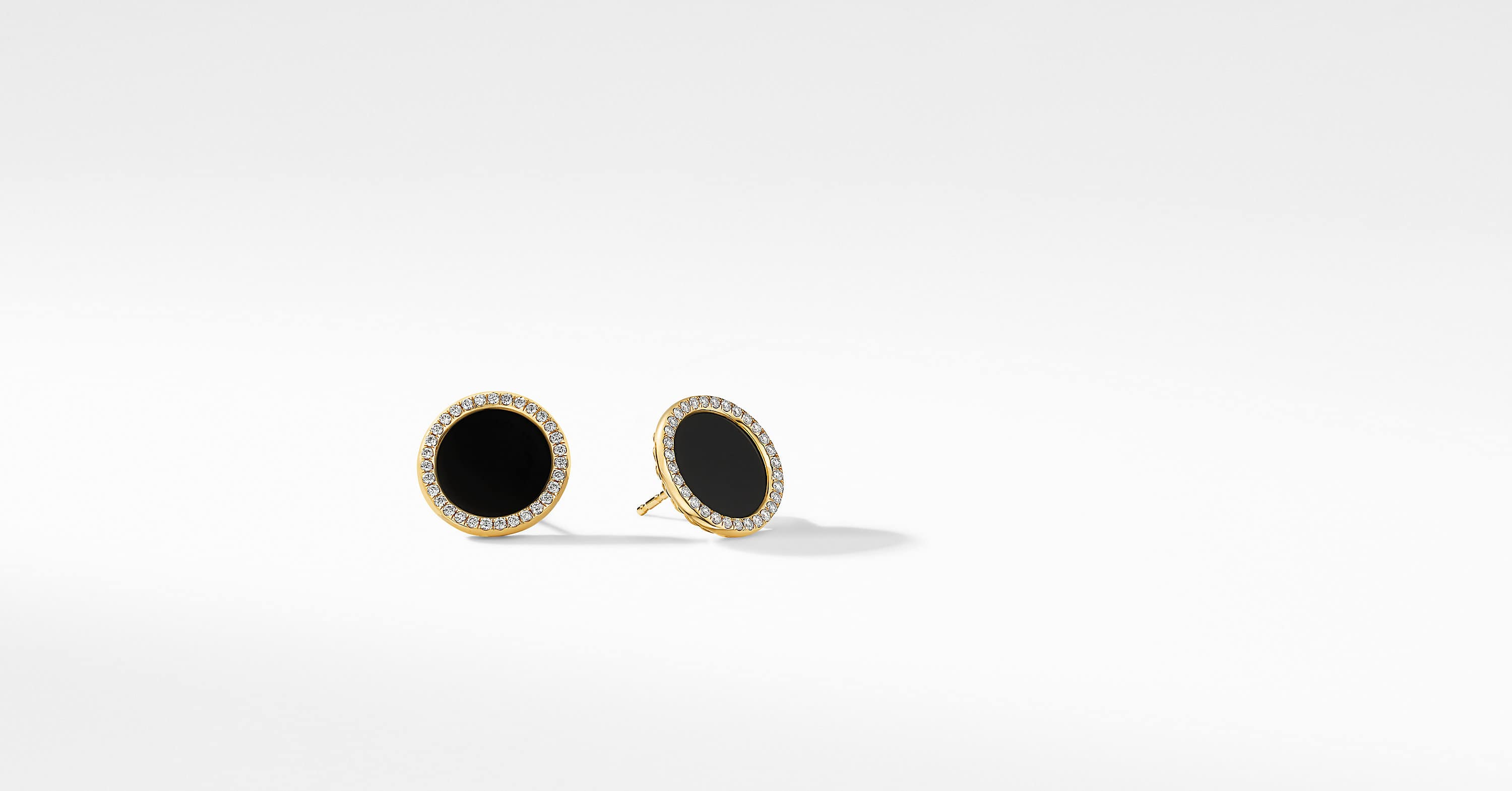 DY Elements Button Earrings in 18K Yellow Gold with Diamonds, 14mm