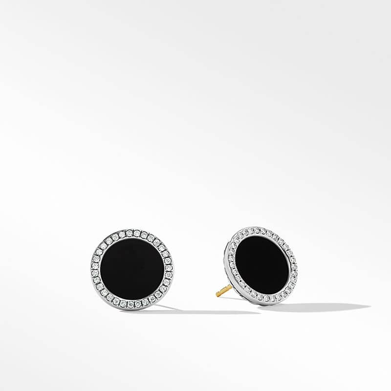 DY Elements Button Earrings with Diamonds, 14mm