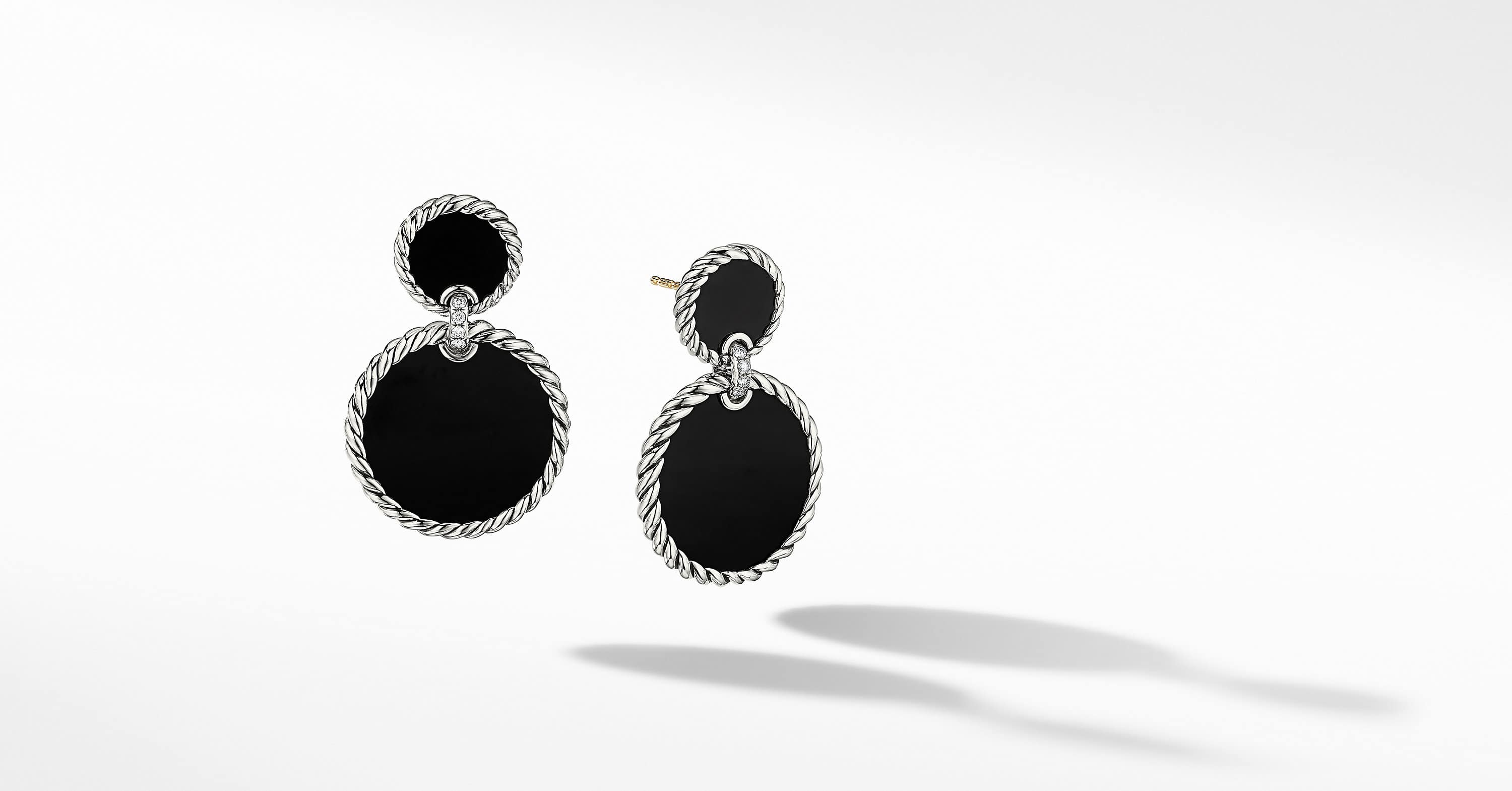 DY Elements Double Drop Earrings with Diamonds, 33mm