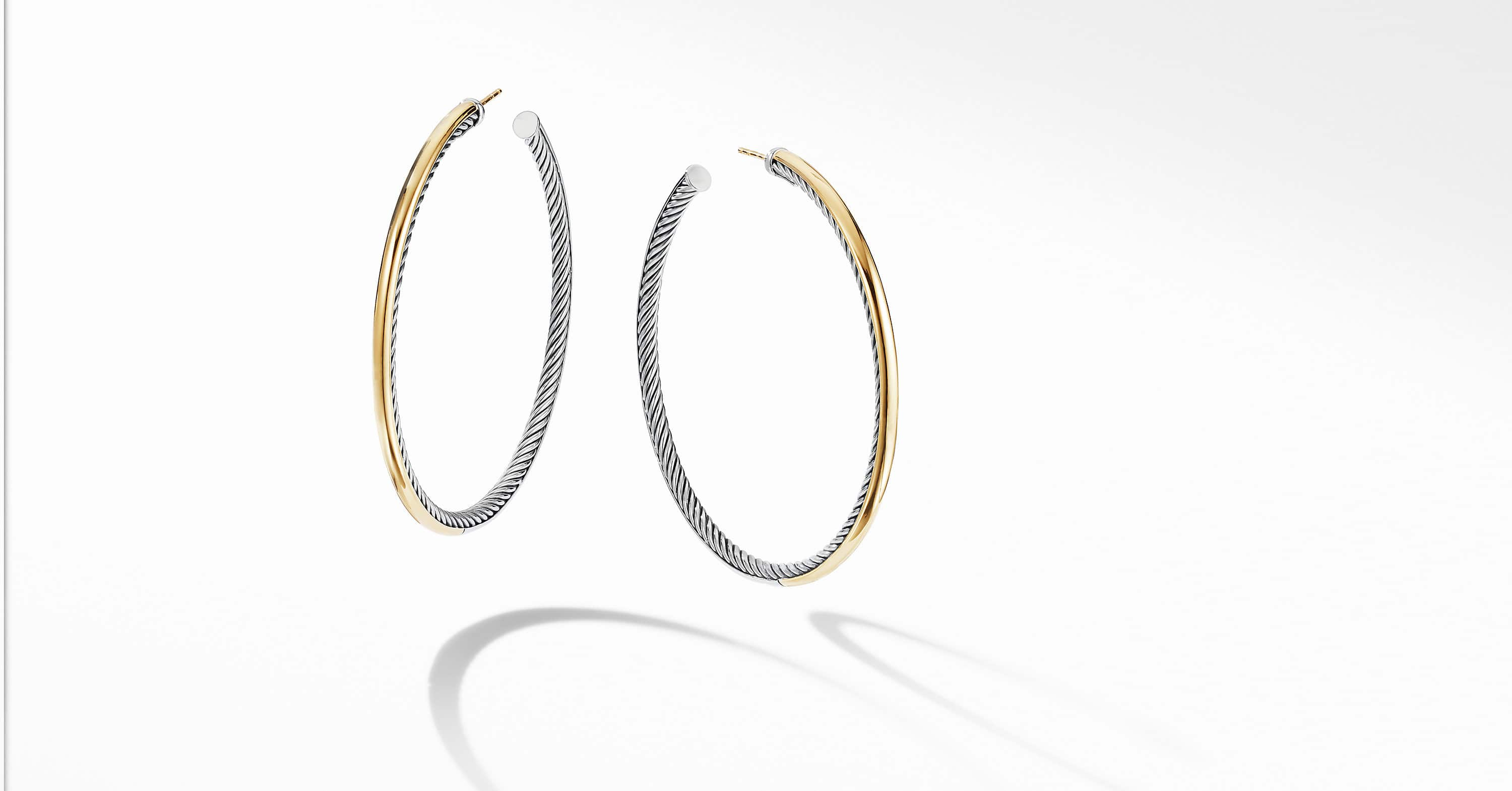 Sculpted Cable Hoop Earrings with 18K Yellow Gold, 2.5""