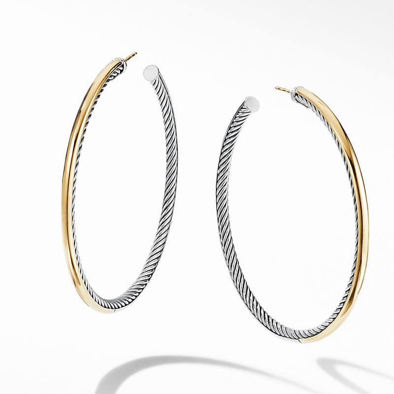 """Sculpted Cable Hoop Earrings with 18K Yellow Gold, 2.5"""""""