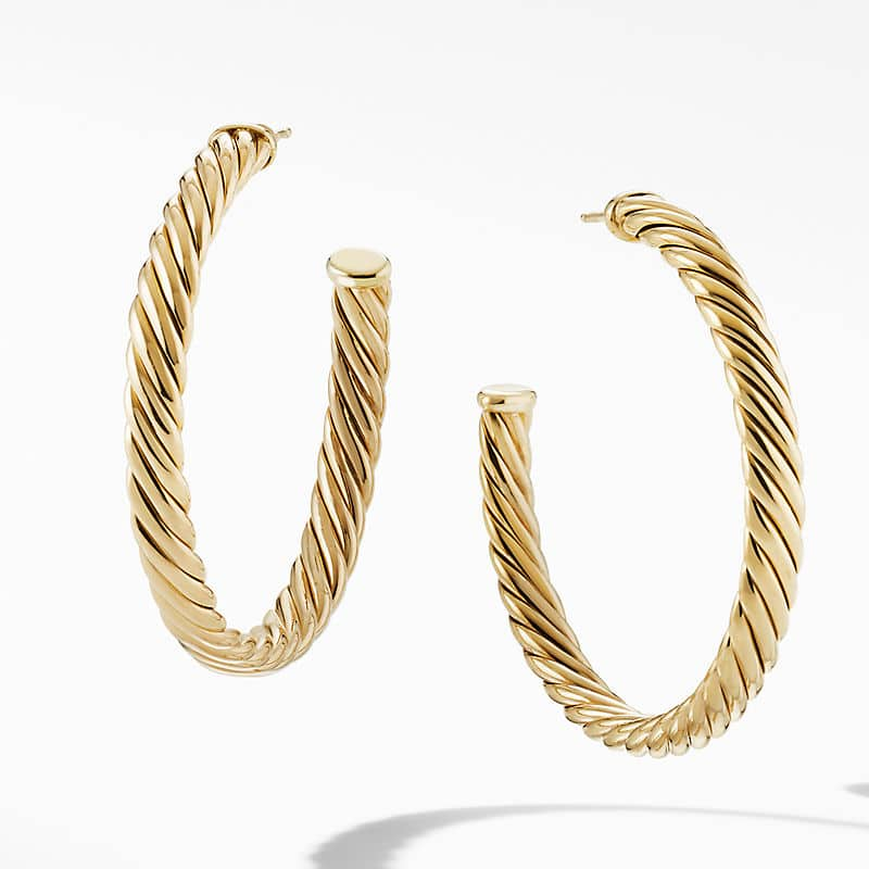 """Sculpted Cable Hoop Earrings in 18K Yellow Gold, 1.75"""""""