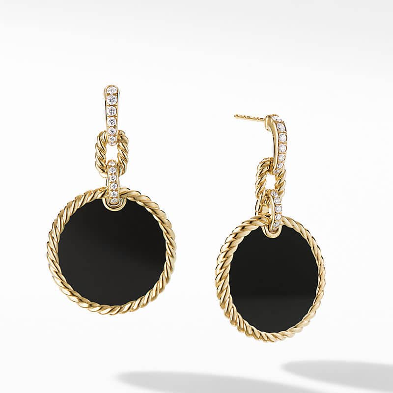 DY Elements Drop Earrings 18K Yellow Gold with Diamonds, 38.3mm