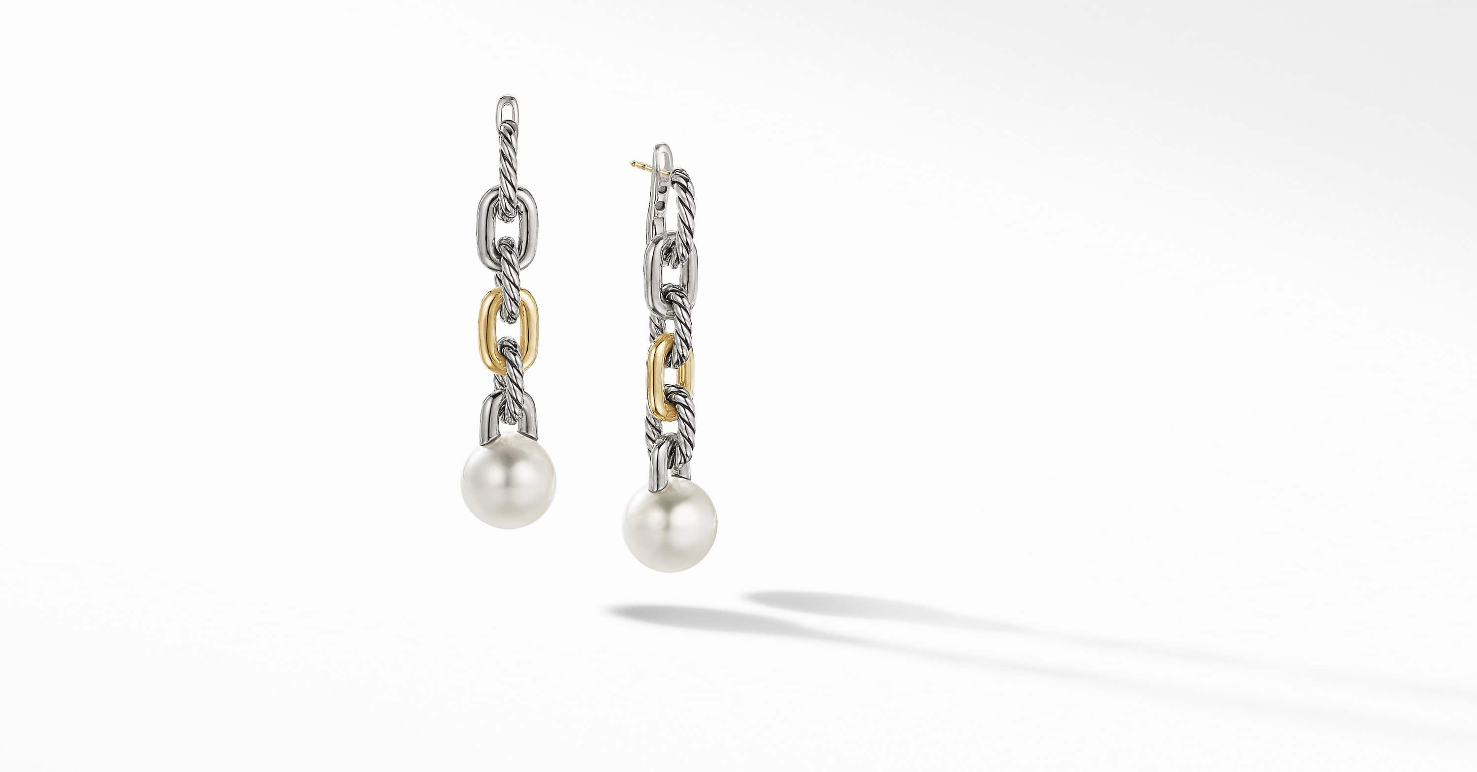 DY Madison Pearl Chain Drop Earrings with 18K Yellow Gold, 52.7mm