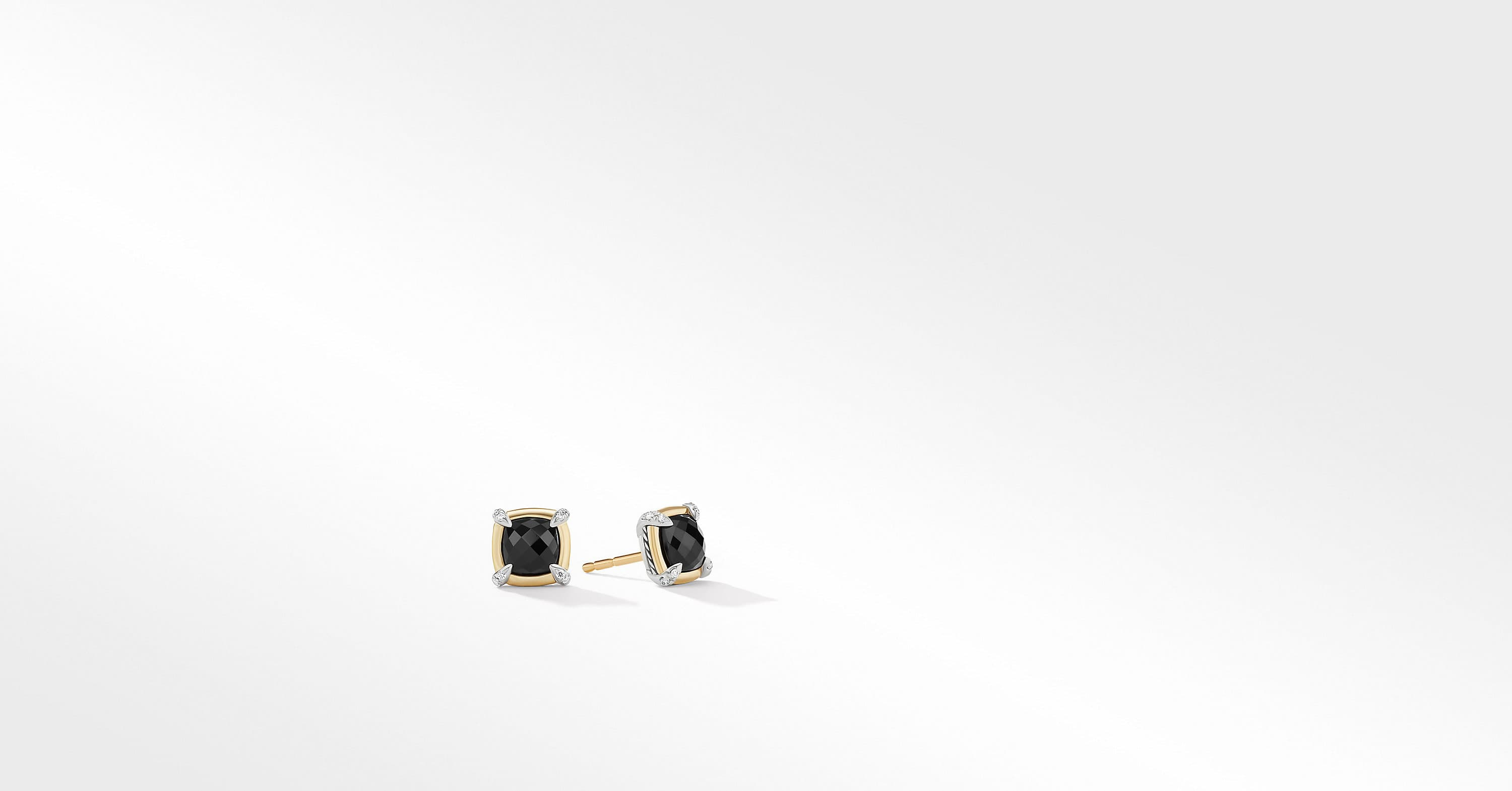 Petite Chatelaine Stud Earrings with 18K Yellow Gold Bezel and Diamonds, 7mm
